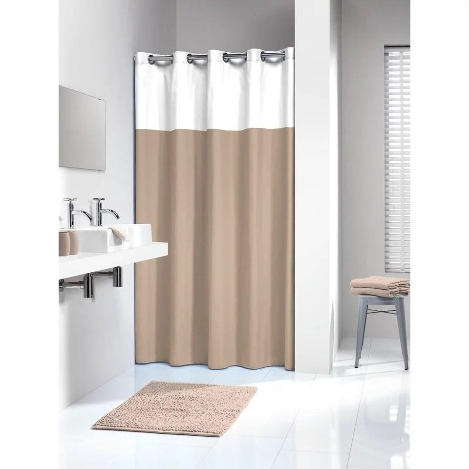 sealskin extra long hookless shower curtain 78 x 72 inch doppio beige