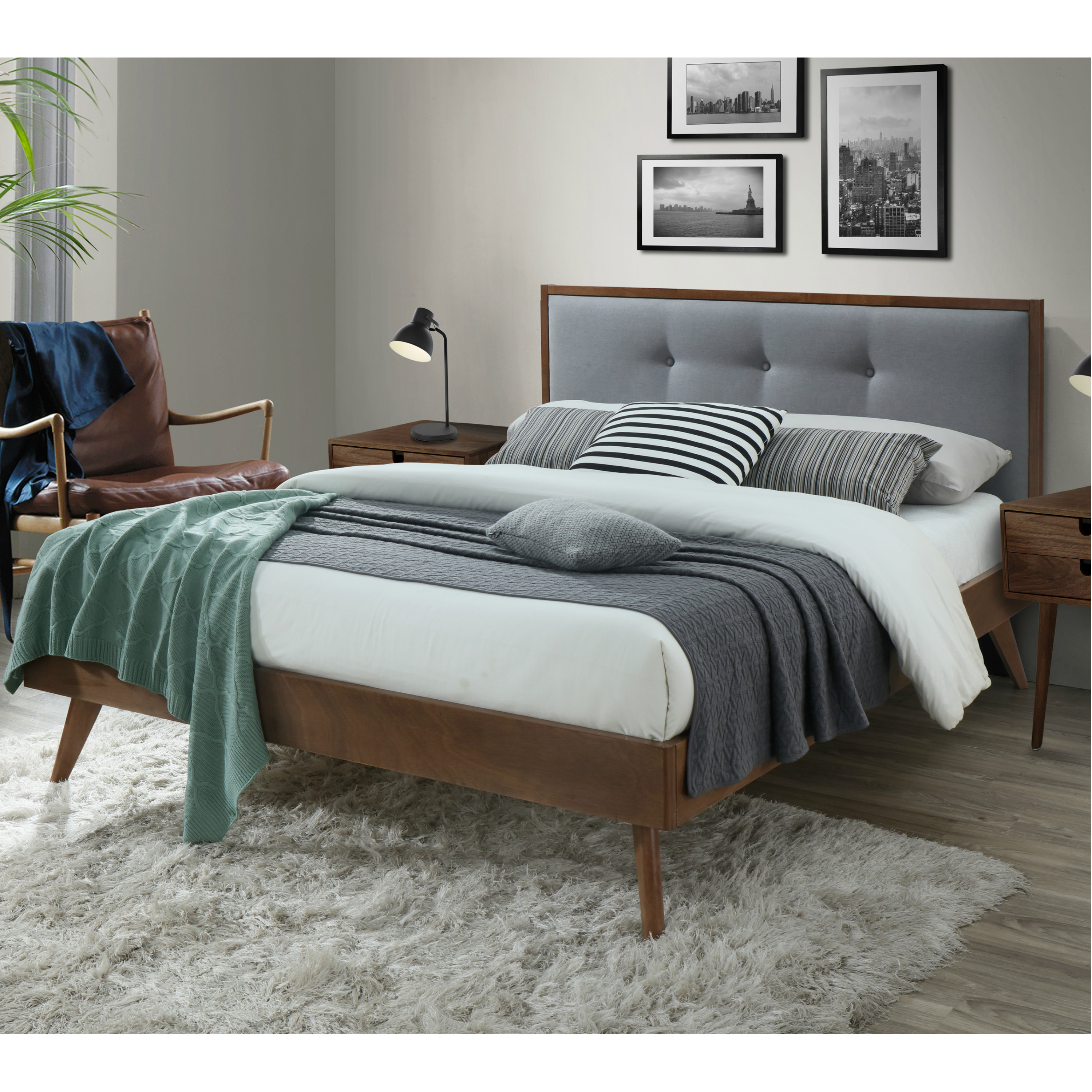 dg casa montana mid century modern platfrom bed frame with tufted upholstered headboard queen size in grey fabric walmart com