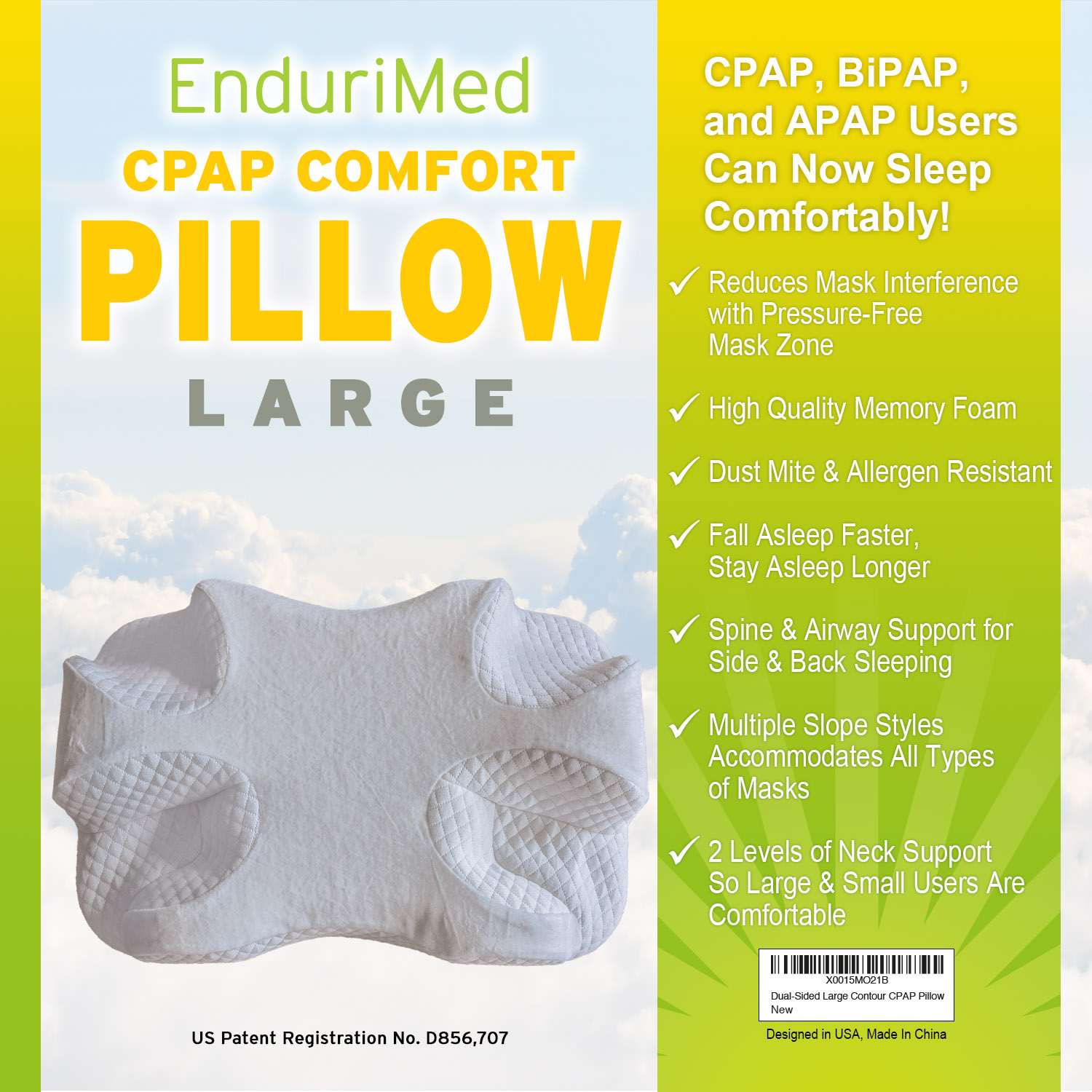 cpap pillow new memory foam contour design reduces face nasal mask pressure air leaks 2 head neck rests for spine alignment comfort cpap