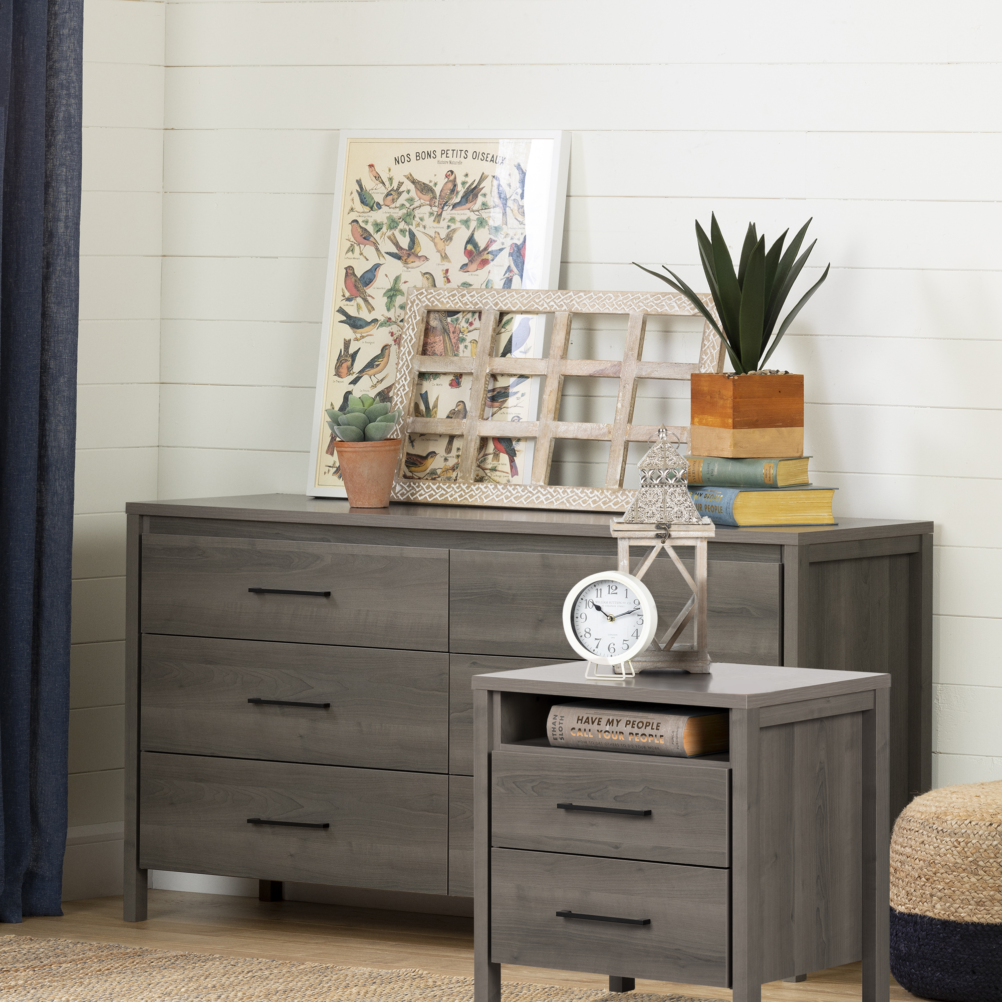 south shore gravity 6 drawer double dresser and nightstand gray maple