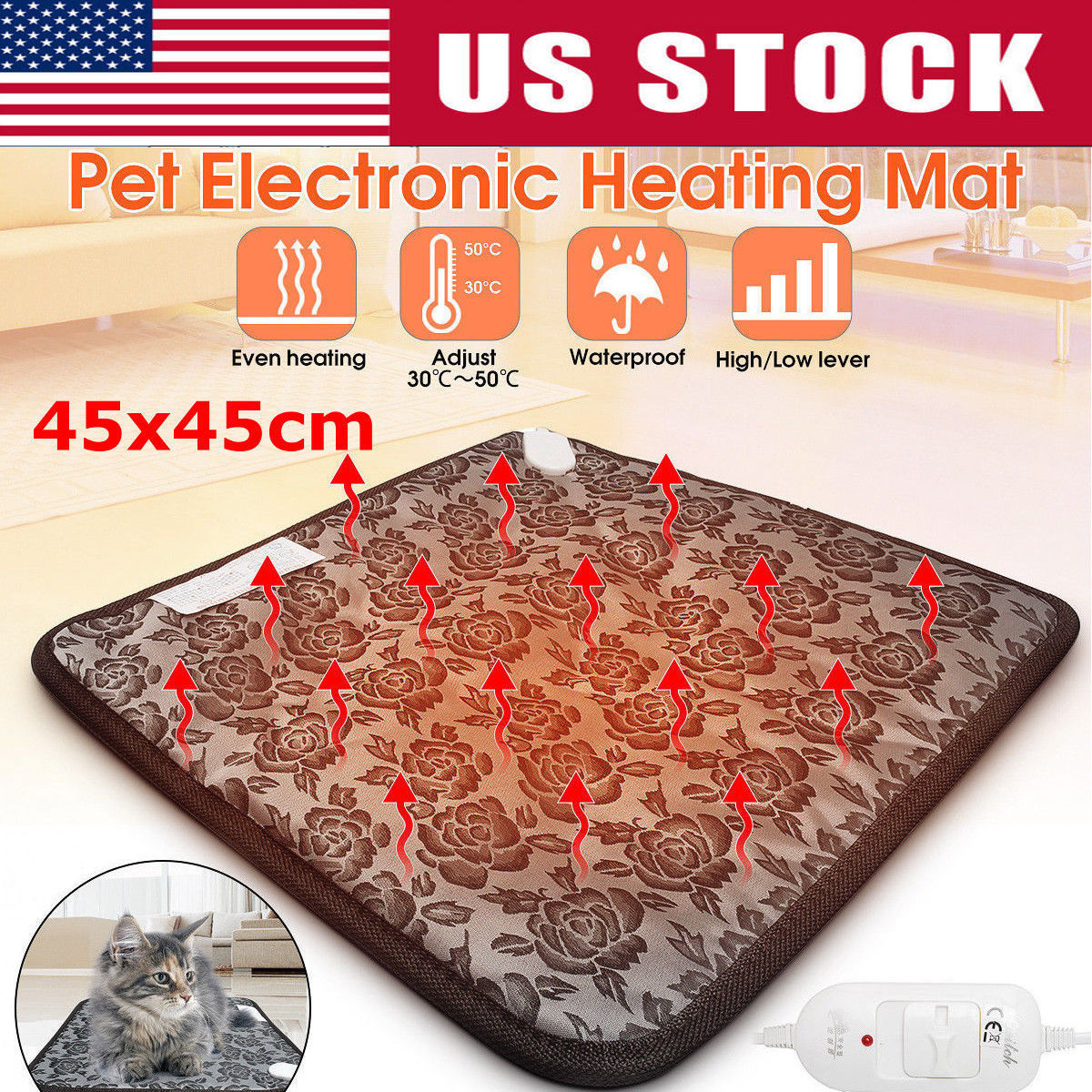 Waterproof Pet Heated Warmer Bed Pad Puppy Dog Cat Bed Mat