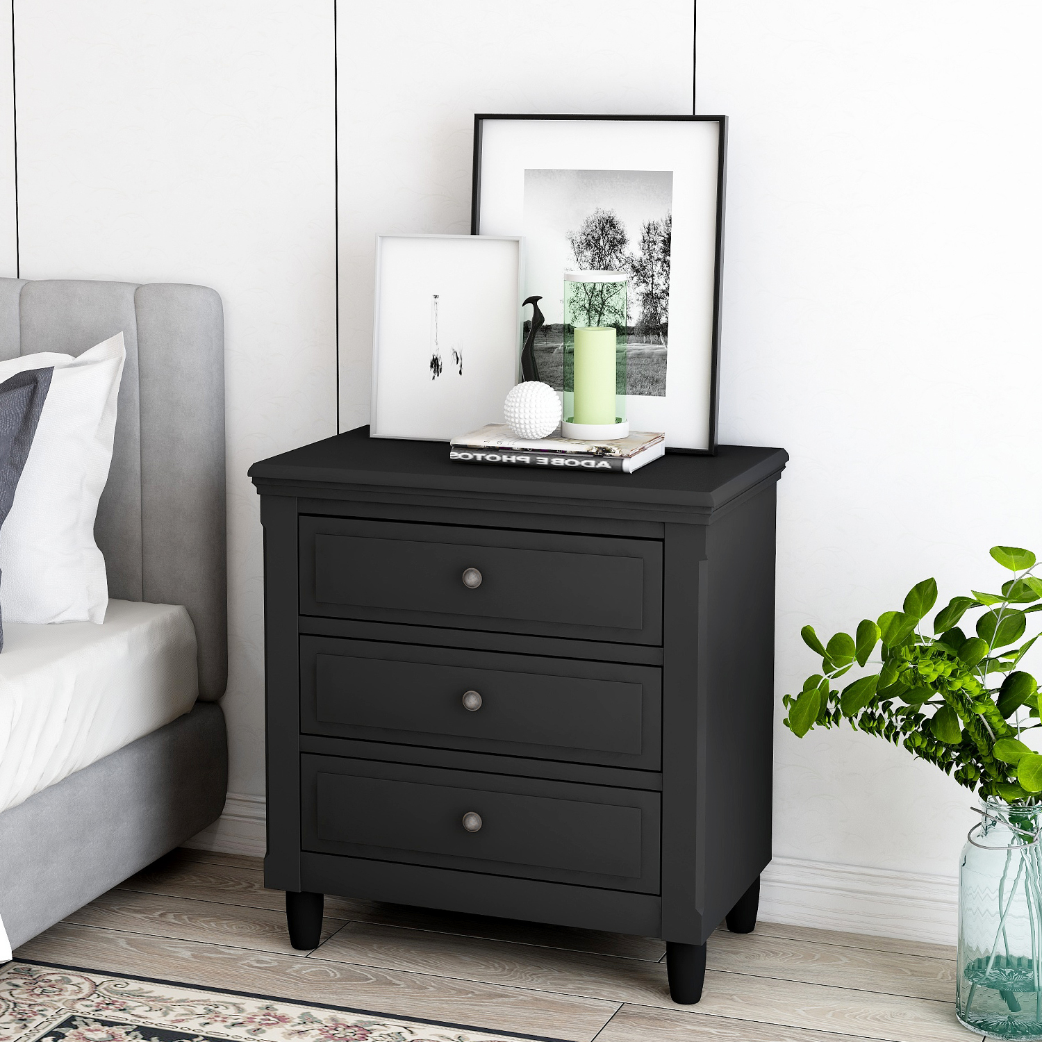Endside Table With Three Drawers Wooden Bedroom Nightstand Classic Contemporary Style File Cabinet Storage Decoration Bedside Table For Bedroom Living Room 28 H X 28 W X 17 D Black Y0290