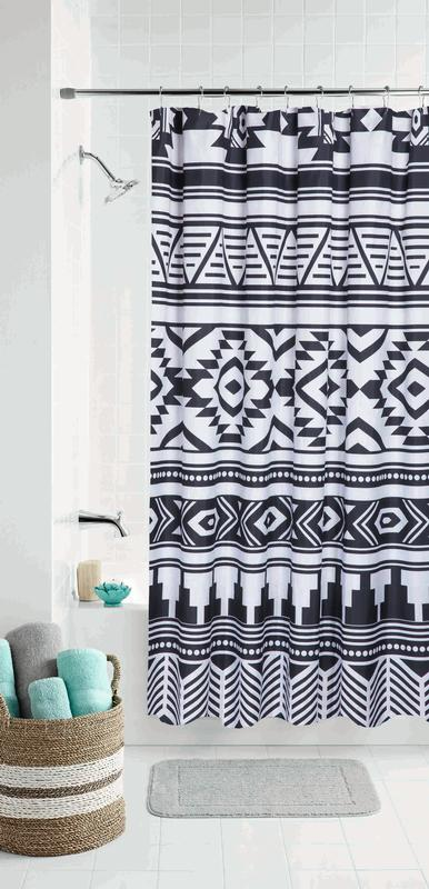 mainstays black and white tribal coordinating fabric shower curtain