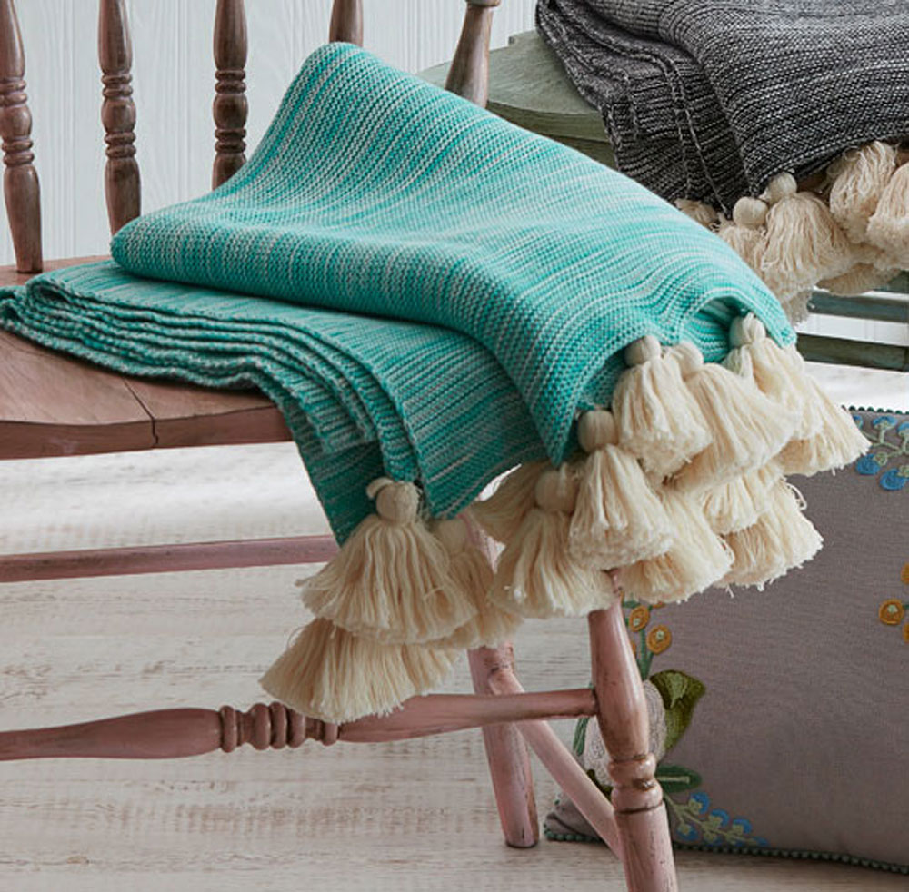 50 x 60 jade green and off white turquoise marble throw blanket with tassels