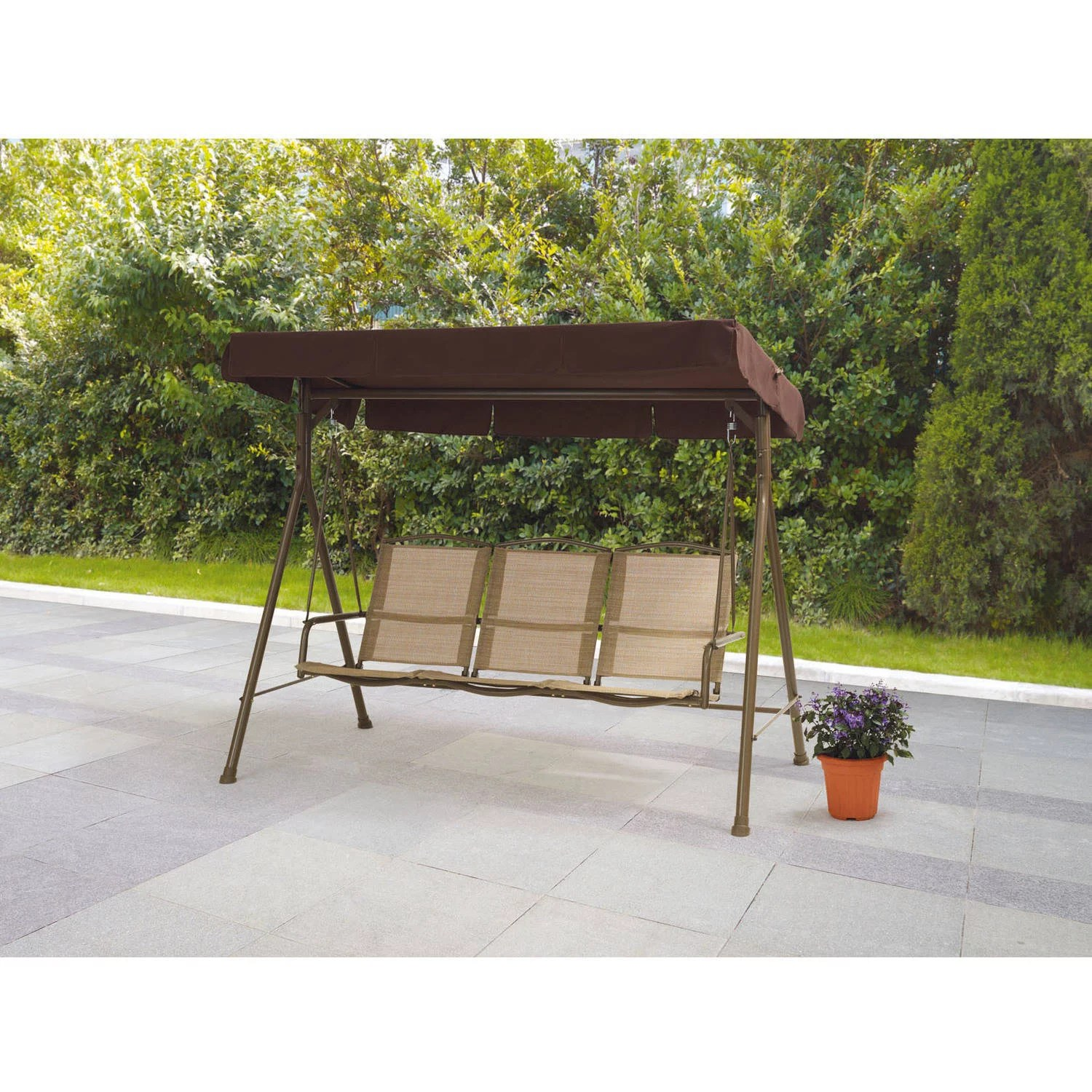 mainstays sand dune 3 person outdoor sling canopy porch swing with canopy dune walmart com