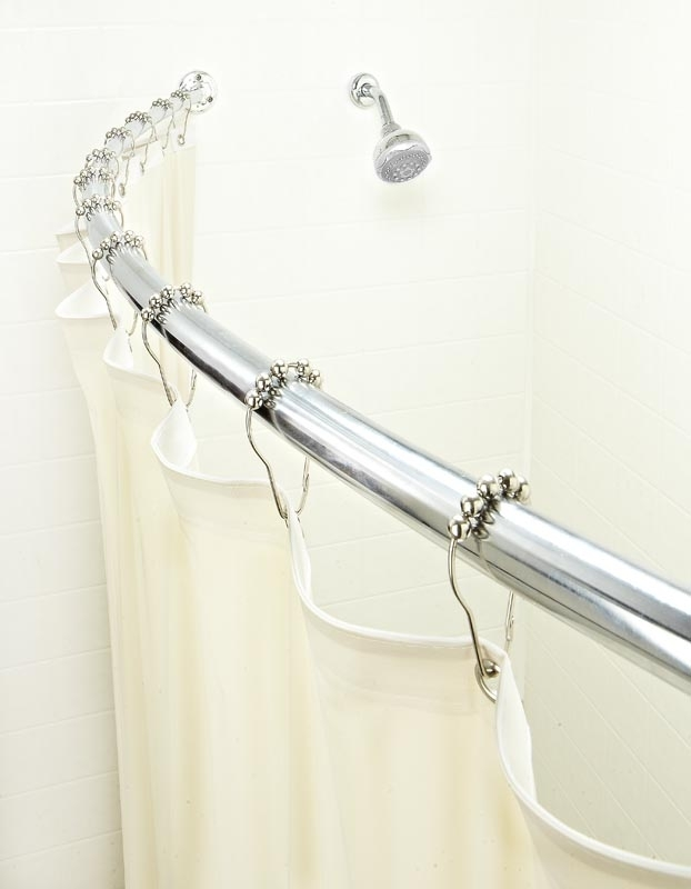 bath bliss curved shower rod in satin nickel