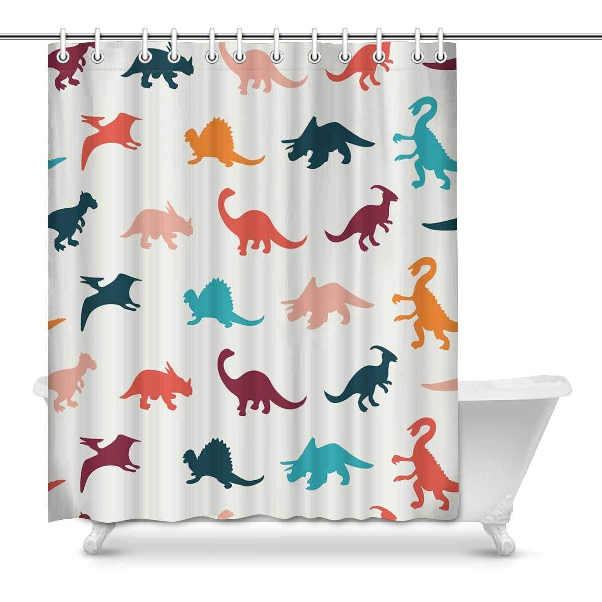dinosaur shower curtain fabric set bath