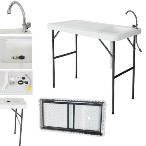 ktaxon folding portable outdoor fish table fillet cleaning cutting with sink faucet white plastic