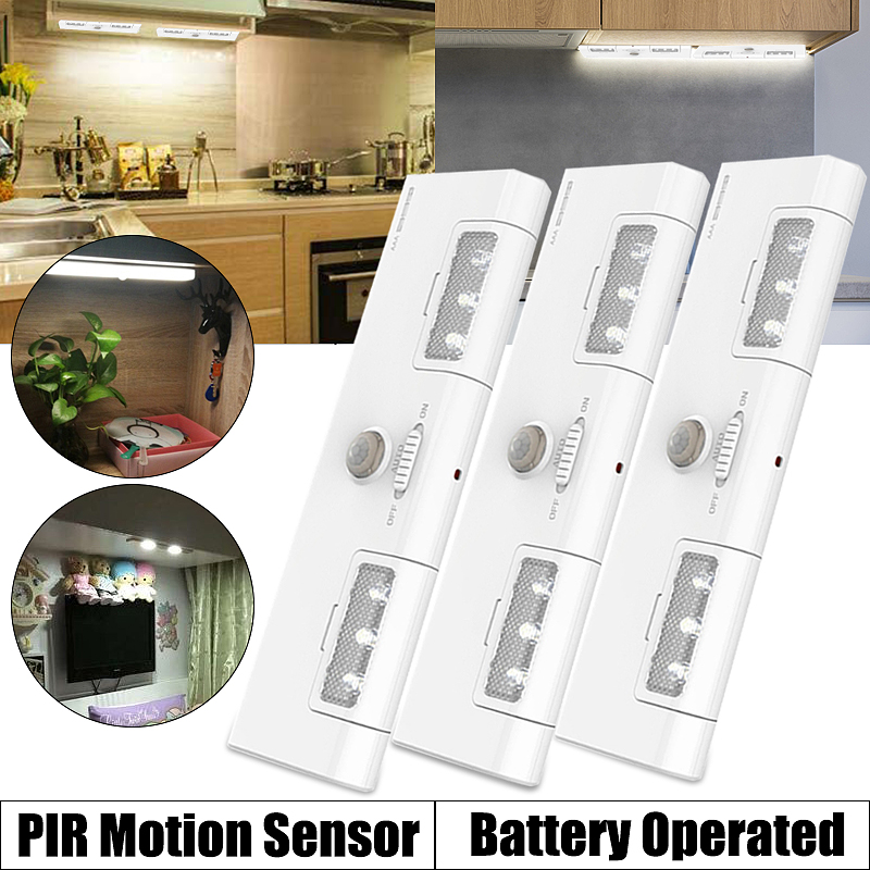 3 pcs under cabinet lights with 90 rotation 6 led motion sensor wireless light portable install night lamp battery operated for