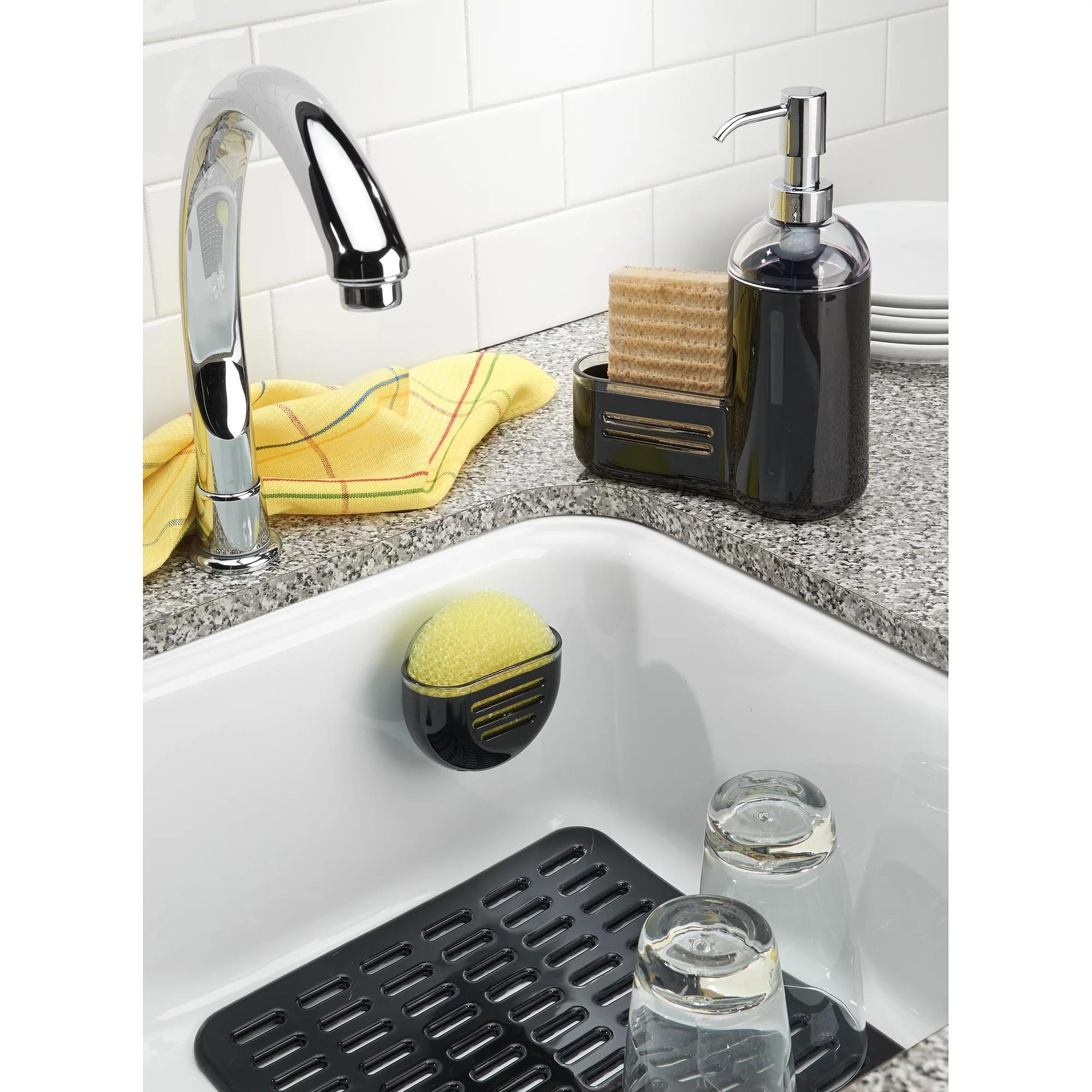 interdesign syncware kitchen sink protector mat large black