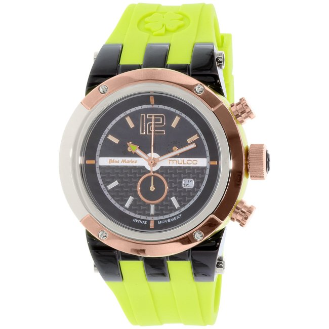 Mulco Men's Blue Marine MW5-1621-465 Green Silicone Swiss Chronograph Fashion Watch