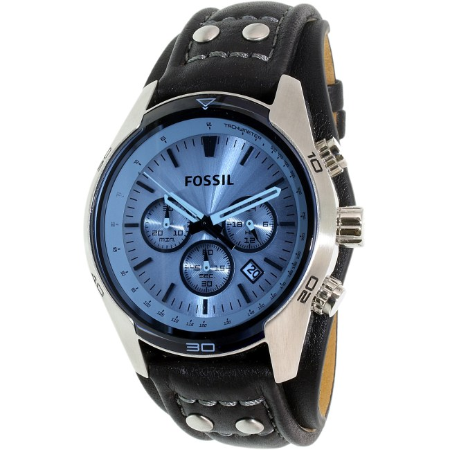 Fossil Men's Coachman CH2564 Blue Leather Quartz Fashion Watch