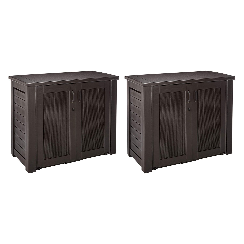 rubbermaid weather resistant resin outdoor patio storage cabinet oak 2 pack