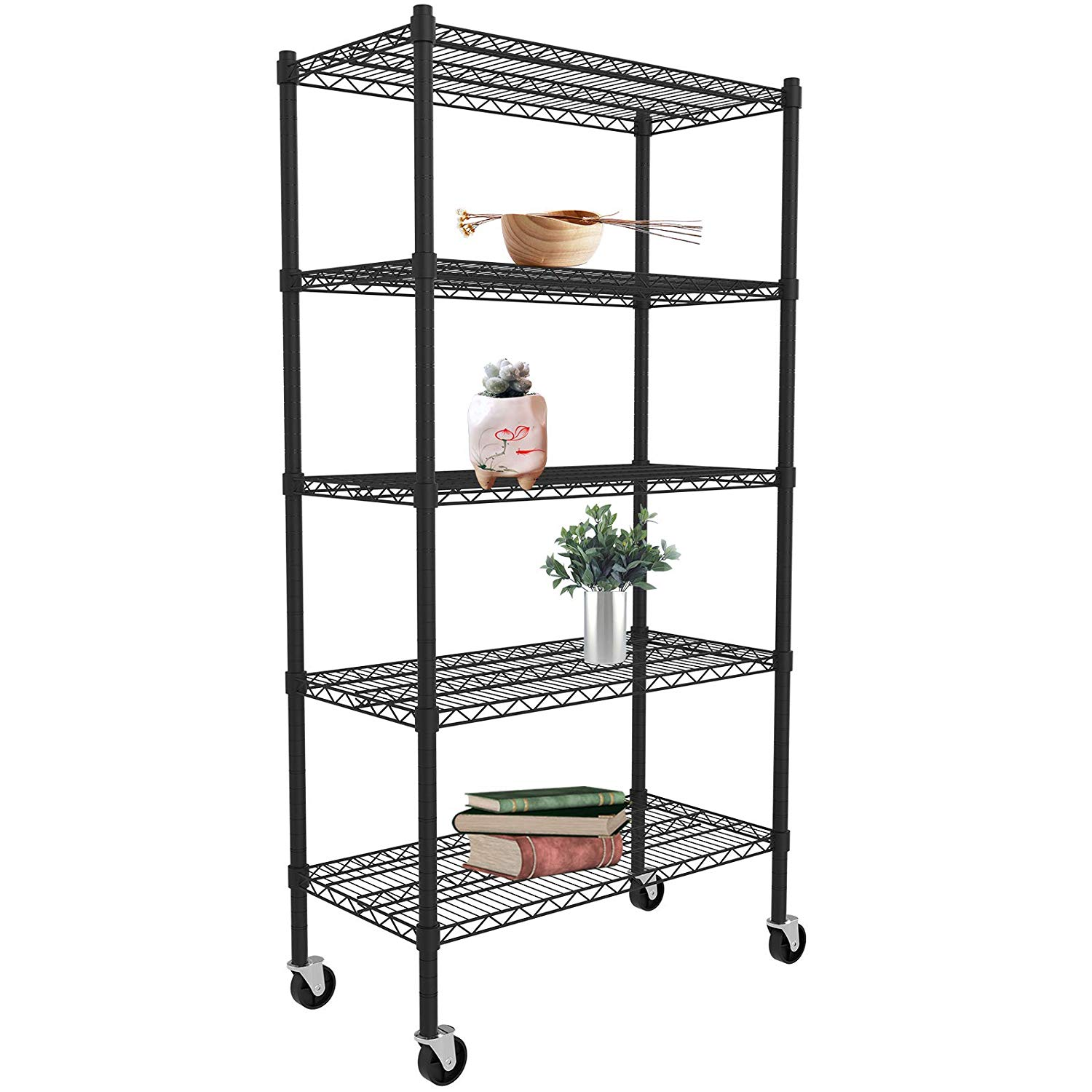 Clearance Black Metal Shelving Unit 5 Tier Heavy Duty