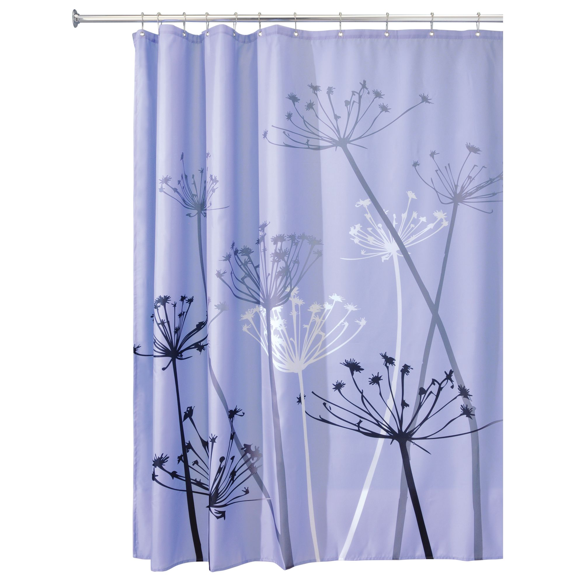 interdesign thistle fabric shower curtain standard 72 x 72 purple gray