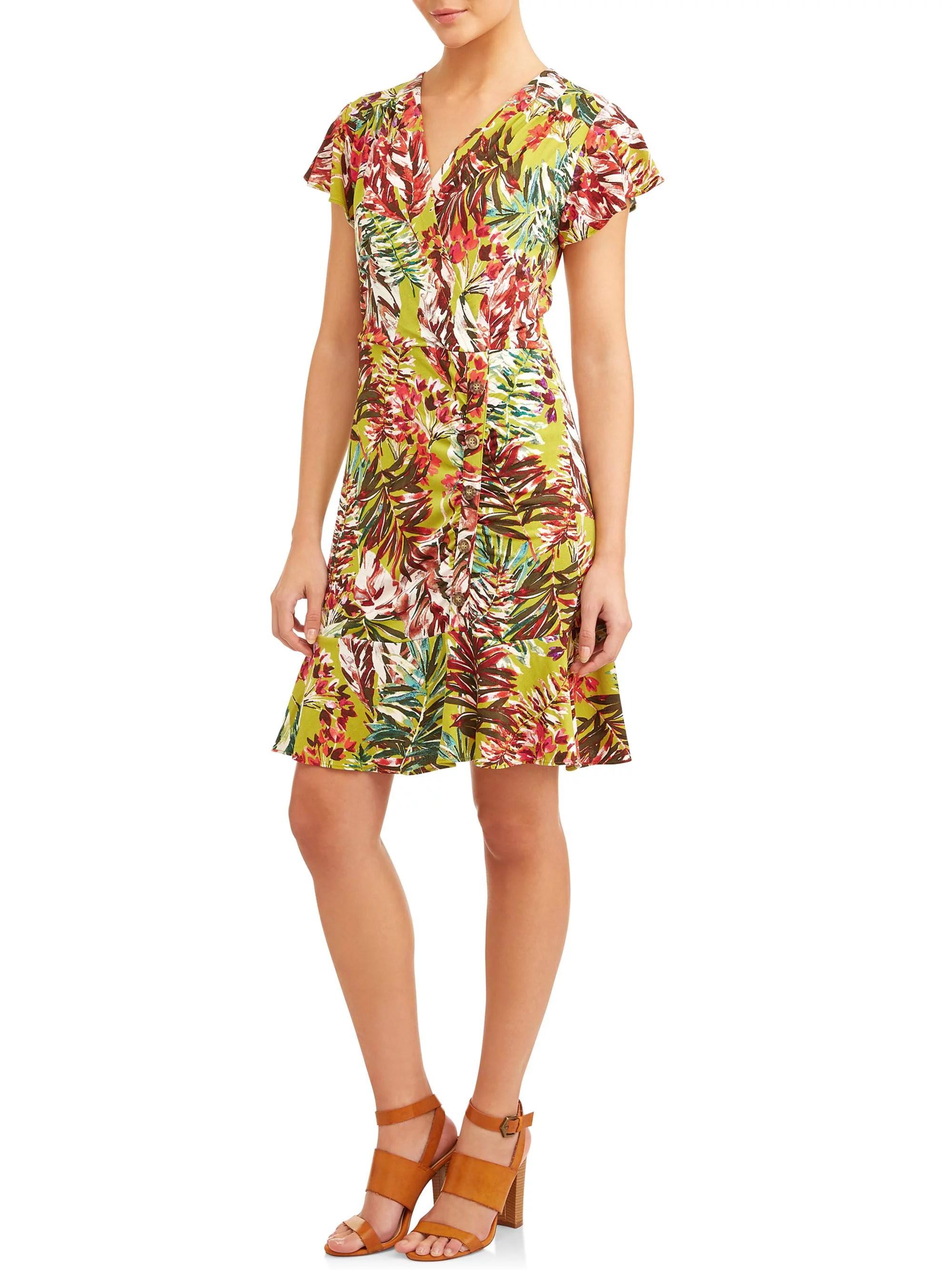 ECI Women's Tropical Ruched Dress