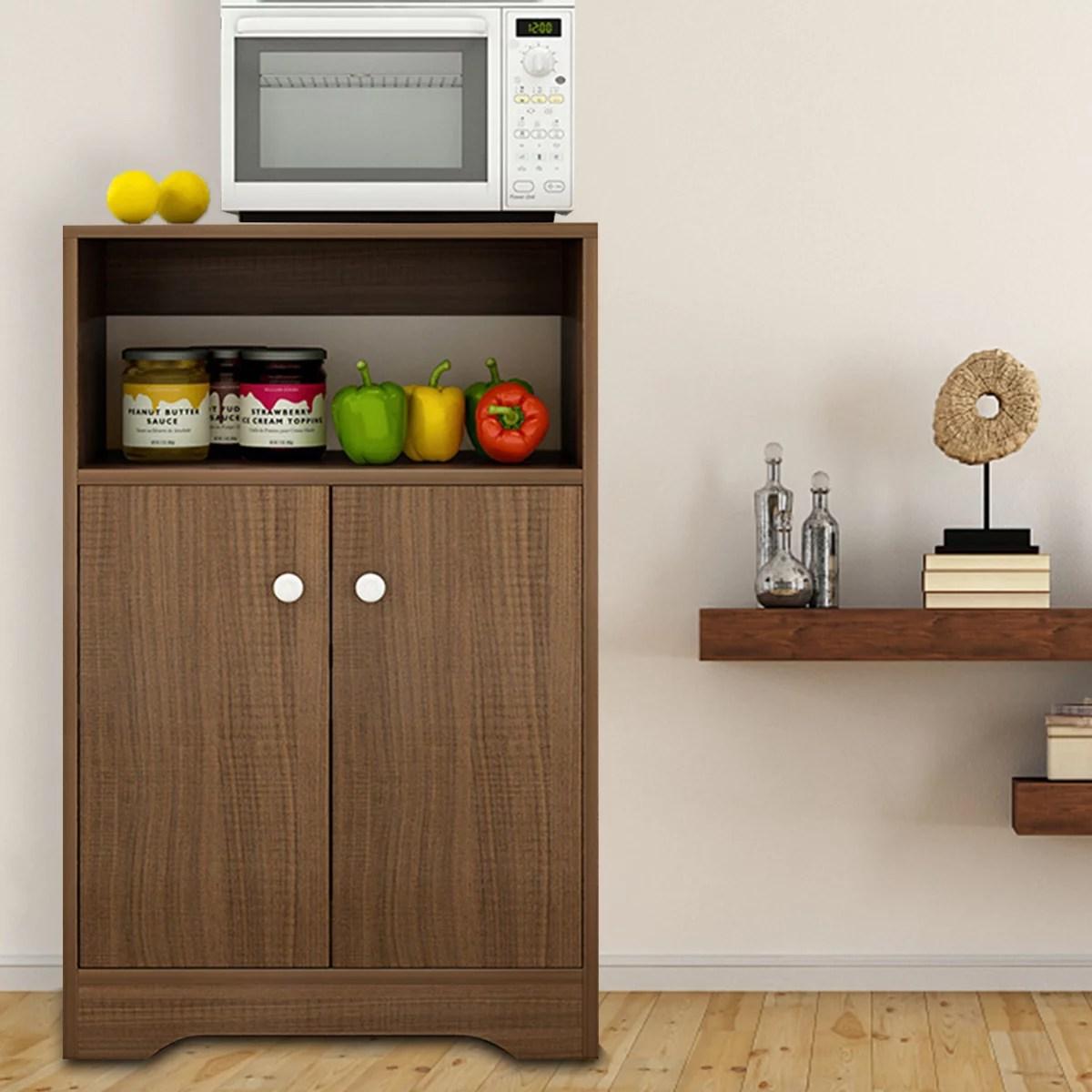 kitchen cupboard storage cabinet pantry wooden microwave oven rack organizer shelf home furniture