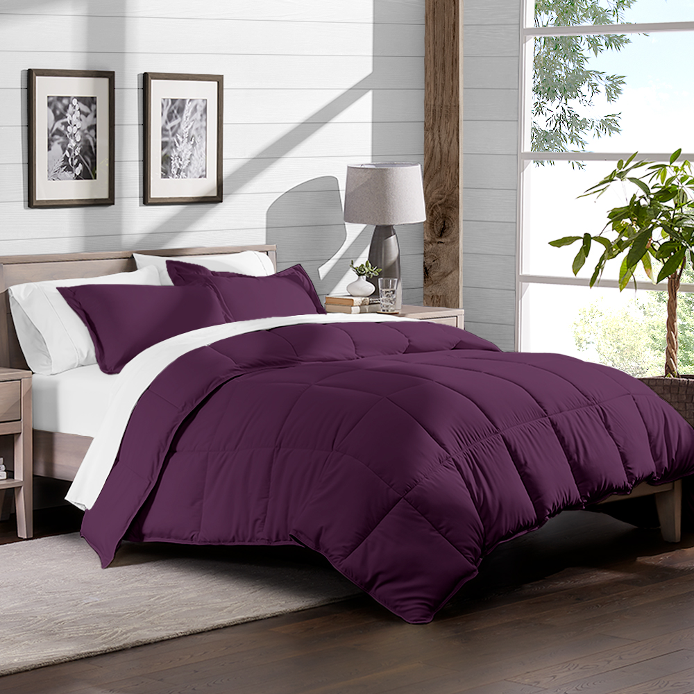 5 piece bed in a bag twin comforter set plum sheet set white