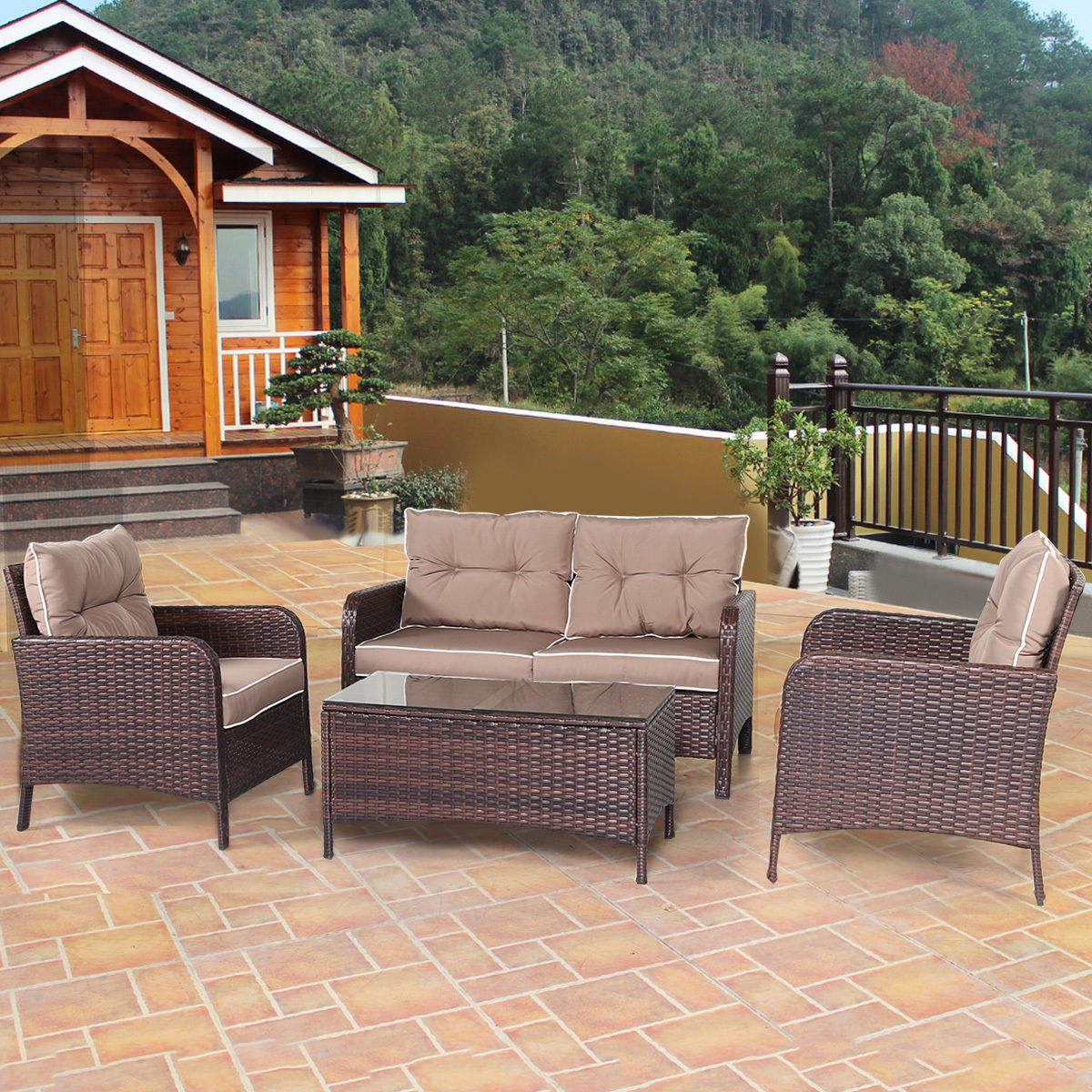 walmart wicker patio furniture sets Costway 4 PCS Outdoor Patio Rattan Wicker Furniture Set