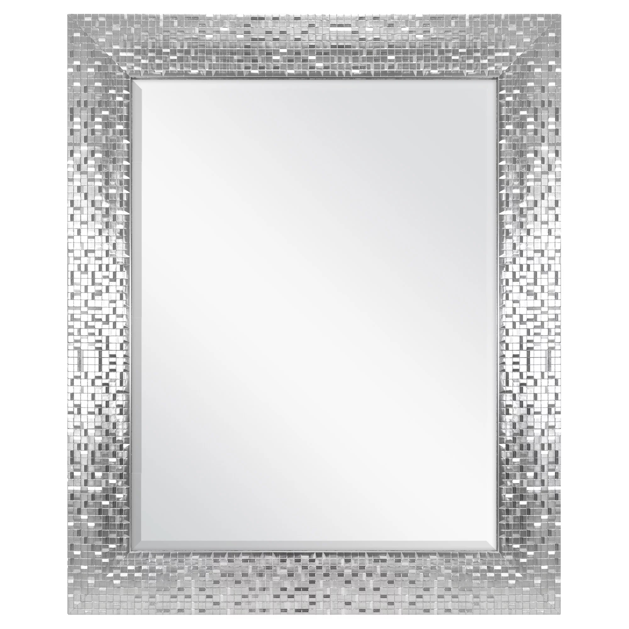 better homes gardens silver glam mosaic tile wall mirror 23x28 inch