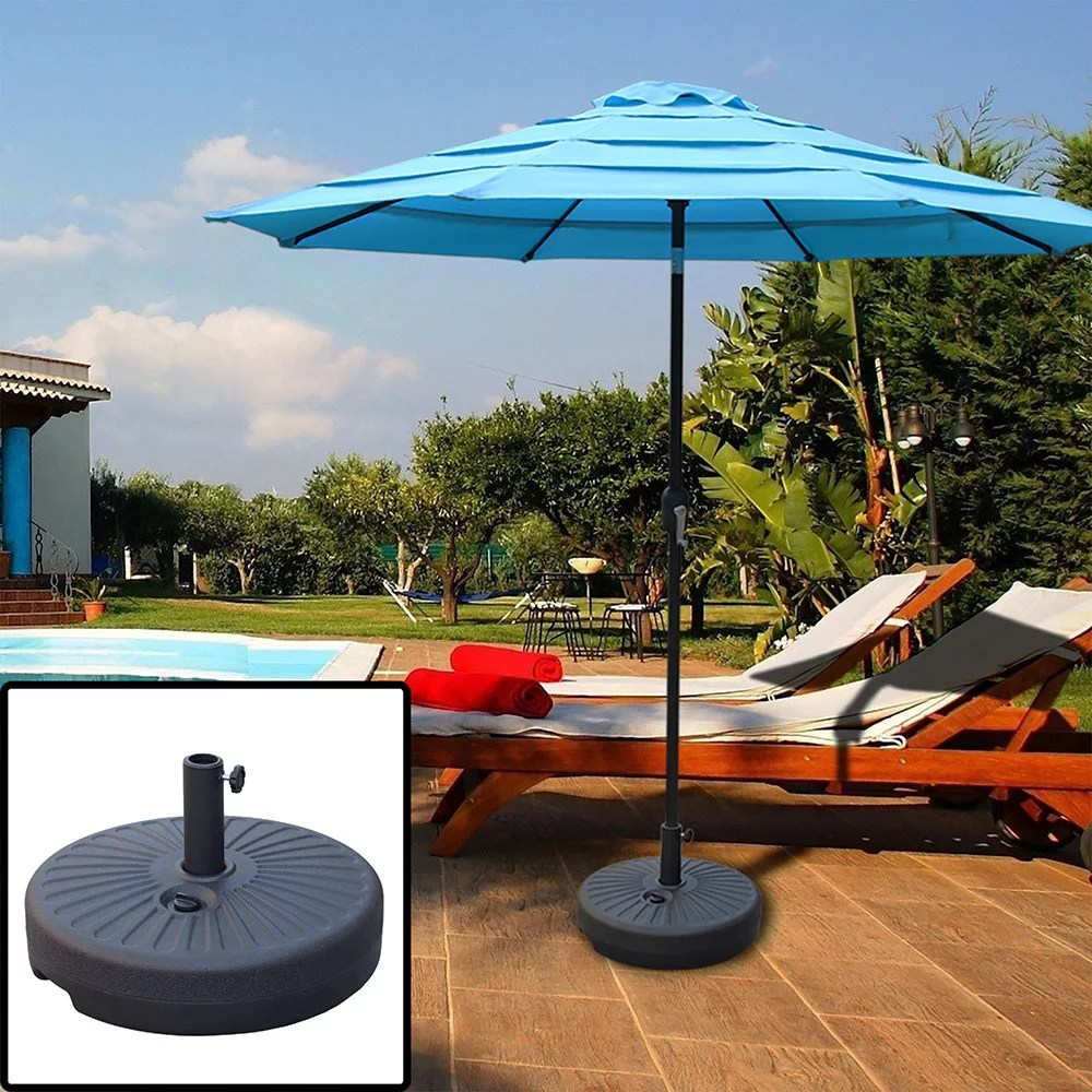 abble 48 5lbs free standing patio round water filled umbrella base