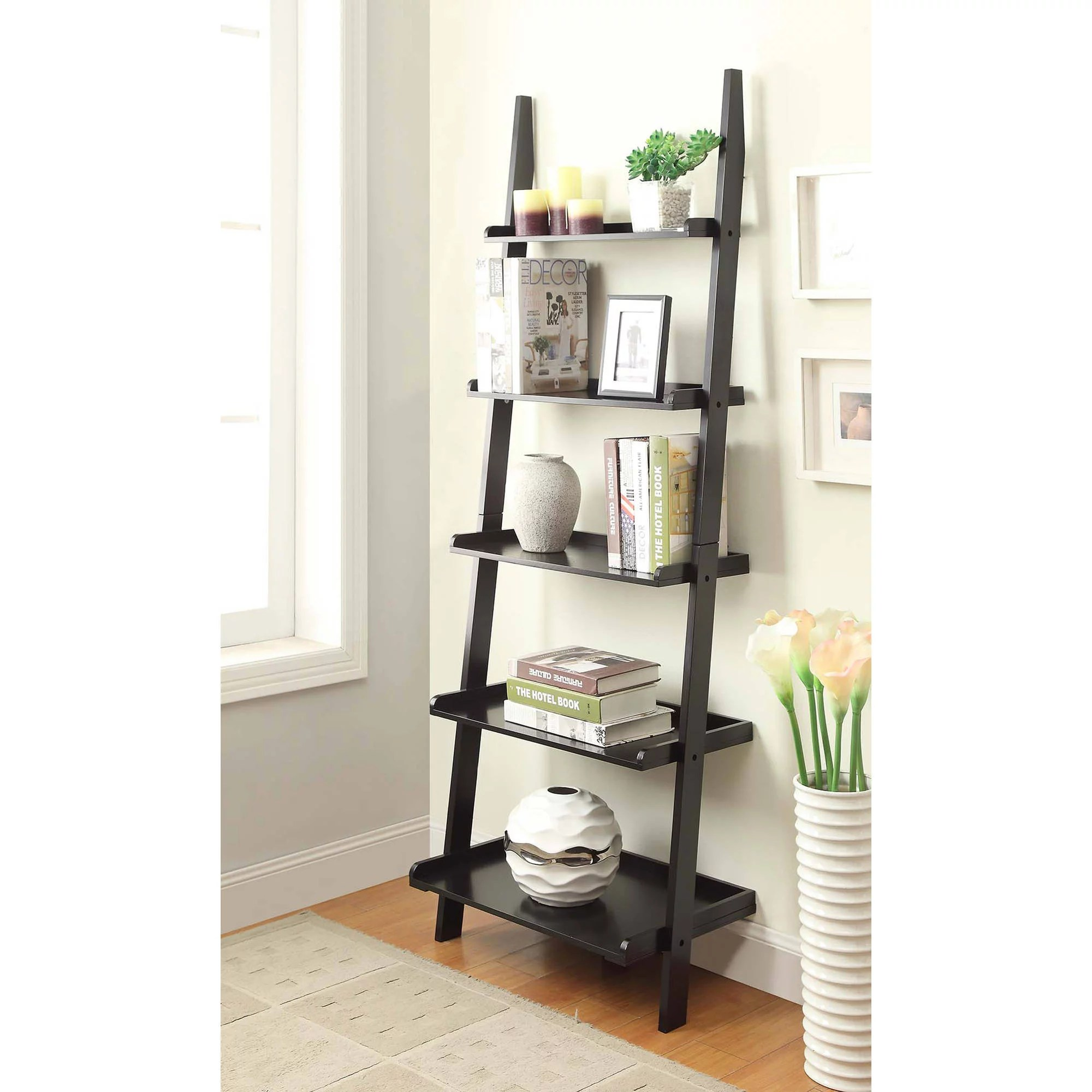 convenience concepts american heritage 5 shelf ladder bookcase black walmart com