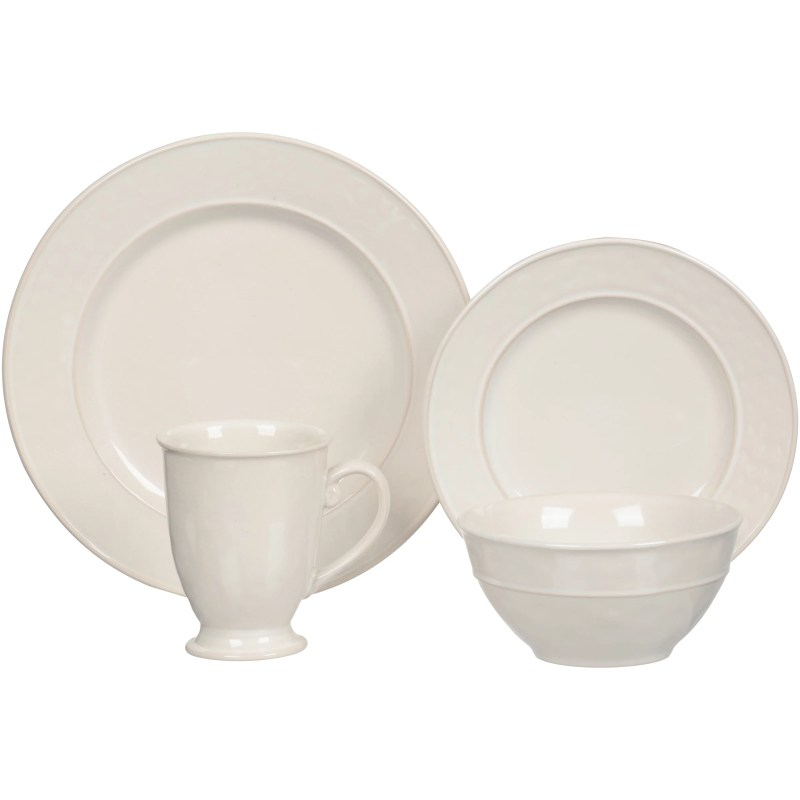 Baum Wellington 16-Piece Stoneware Dinner Set, Ivory