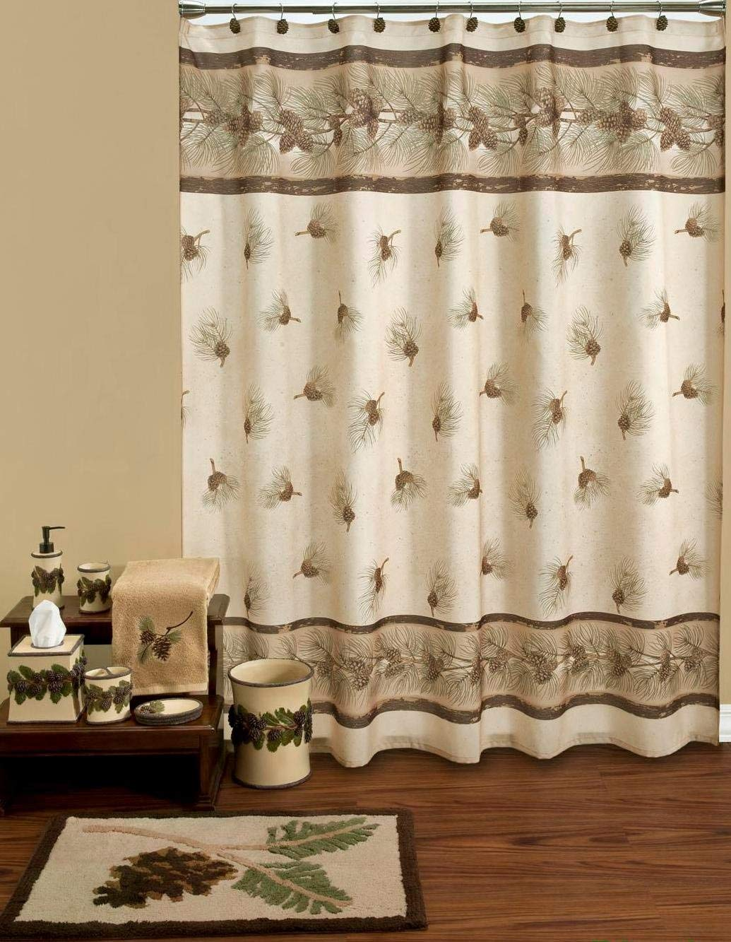 pinehaven resin pinecones shower curtain hooks