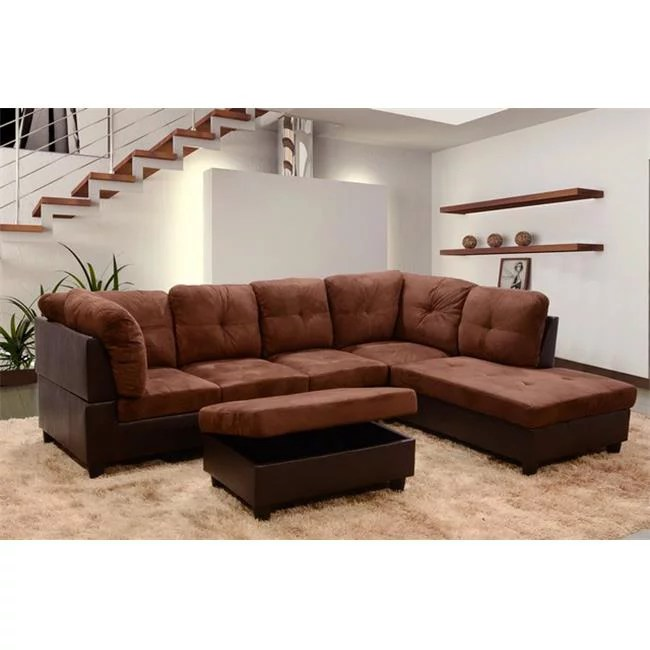 lifestyle furniture lf107b siano right hand facing sectional sofa brown 35 x 103 5 x 74 5 in walmart com