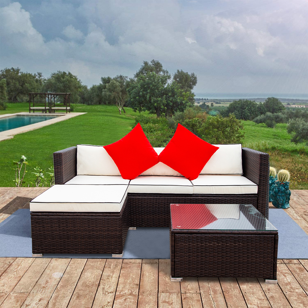 seventh 3 pieces outdoor patio furniture set all weather outdoor small sectional patio sofa set wicker rattan l shaped patio couch conversation set