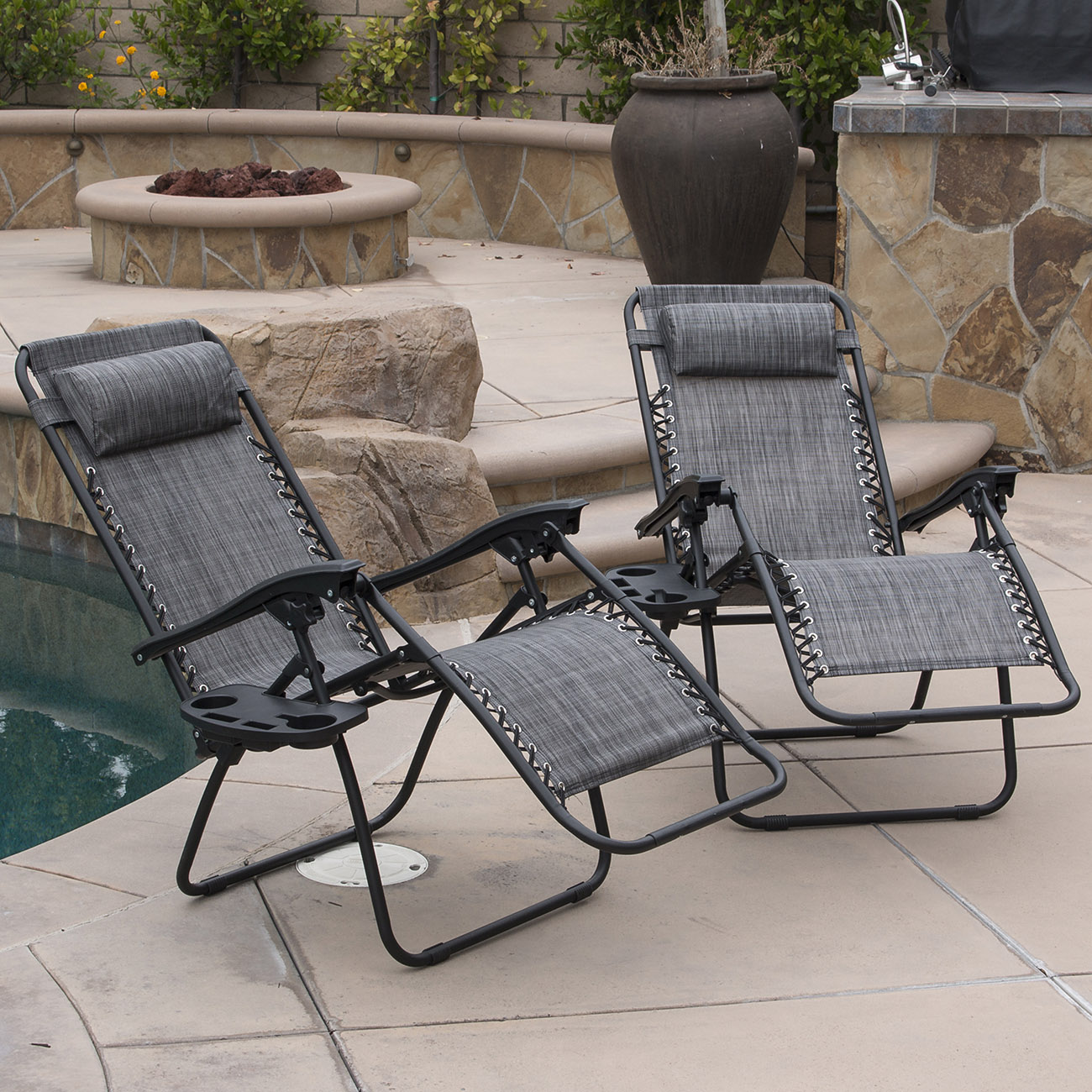 belleze 2 pack zero gravity chairs patio lounge cup holder utility tray gray walmart com