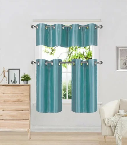 k7 teal 3 piece solid faux silk blackout grommet kitchen window curtain set two 2 lined tiers panel 28 w x 24 l each and one 1 matching lined