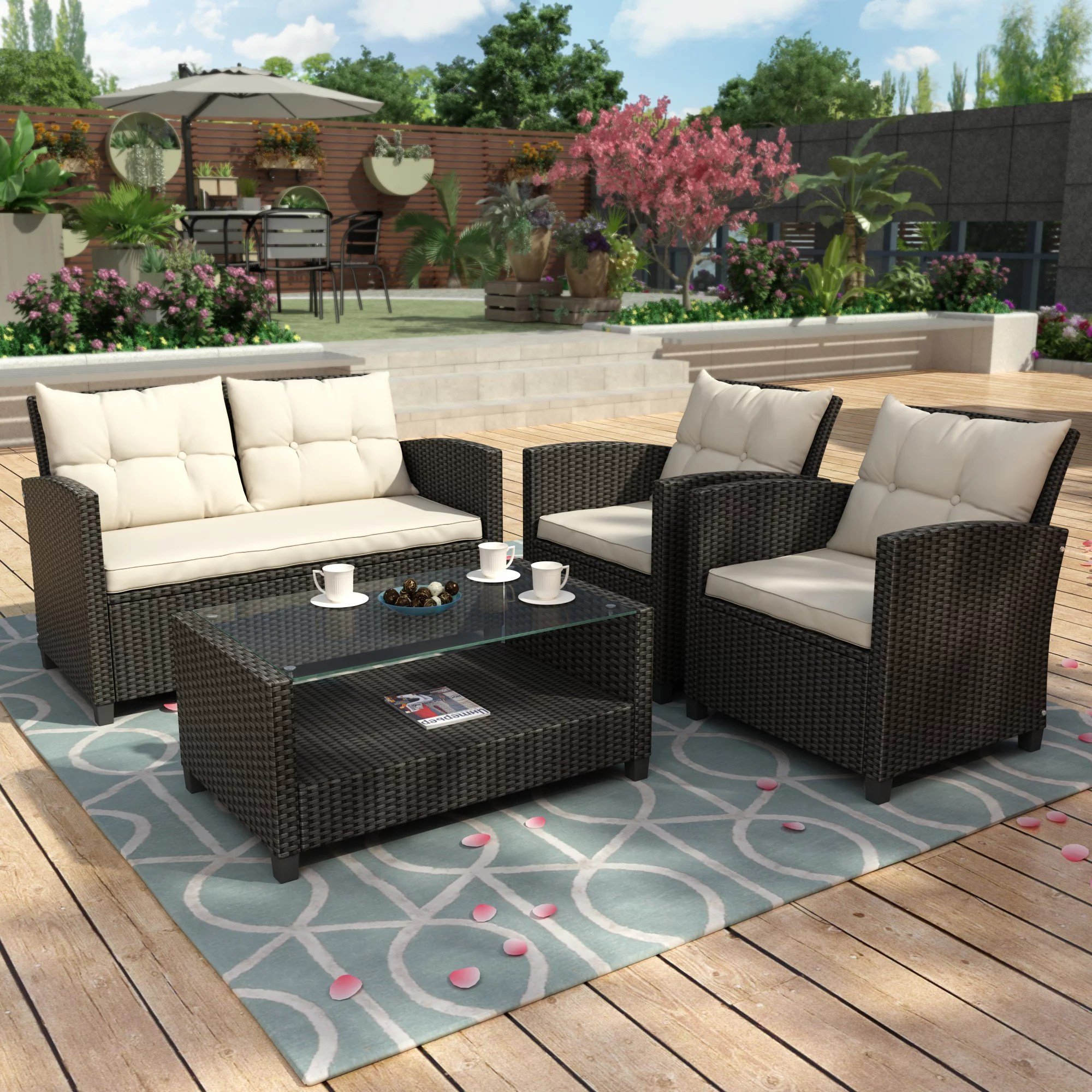 Clearance! Outdoor Wicker Sectional Sofa Set, 4 Piece ... on Outdoor Loveseat Sets  id=43543