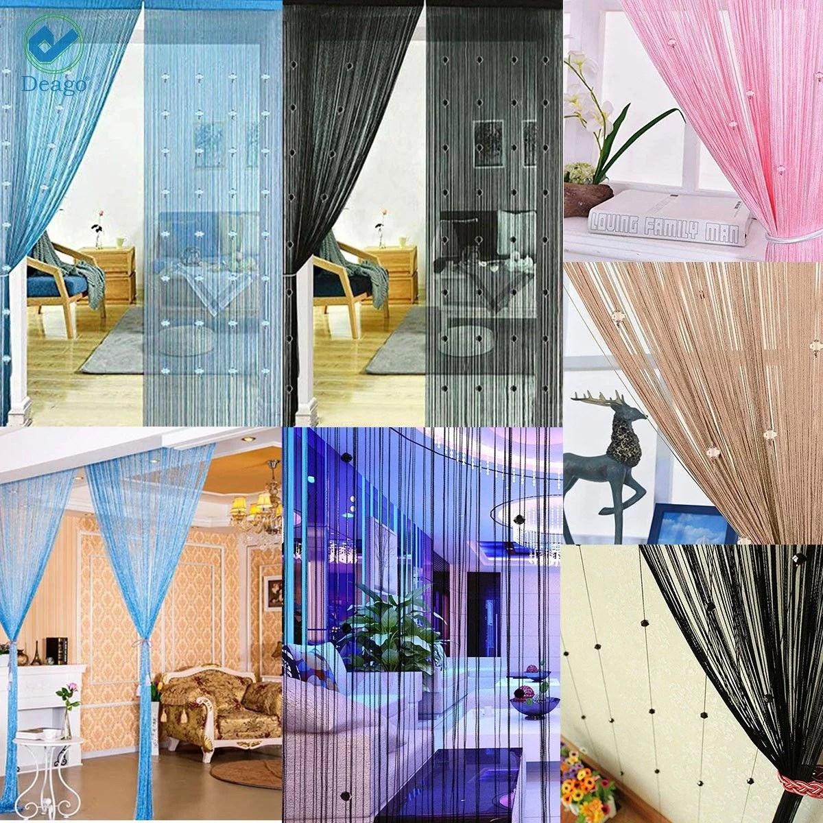 deago 39 x78 crystal beaded curtain door string curtain wall panel fringe window room divider blind divider tassel screen home decor black