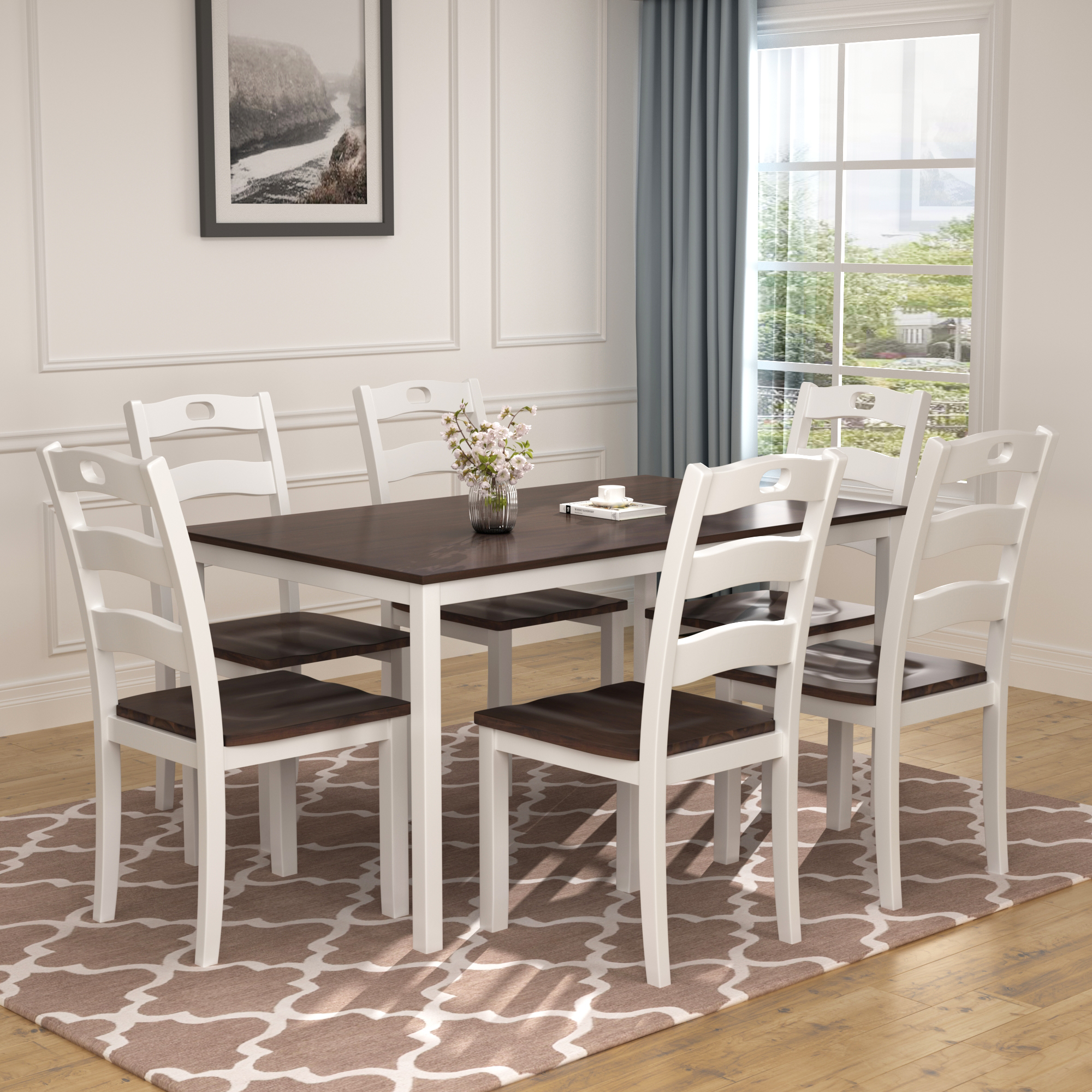 clearance dining table set with 6 chairs 7 piece wooden on dining room sets on clearance id=65975