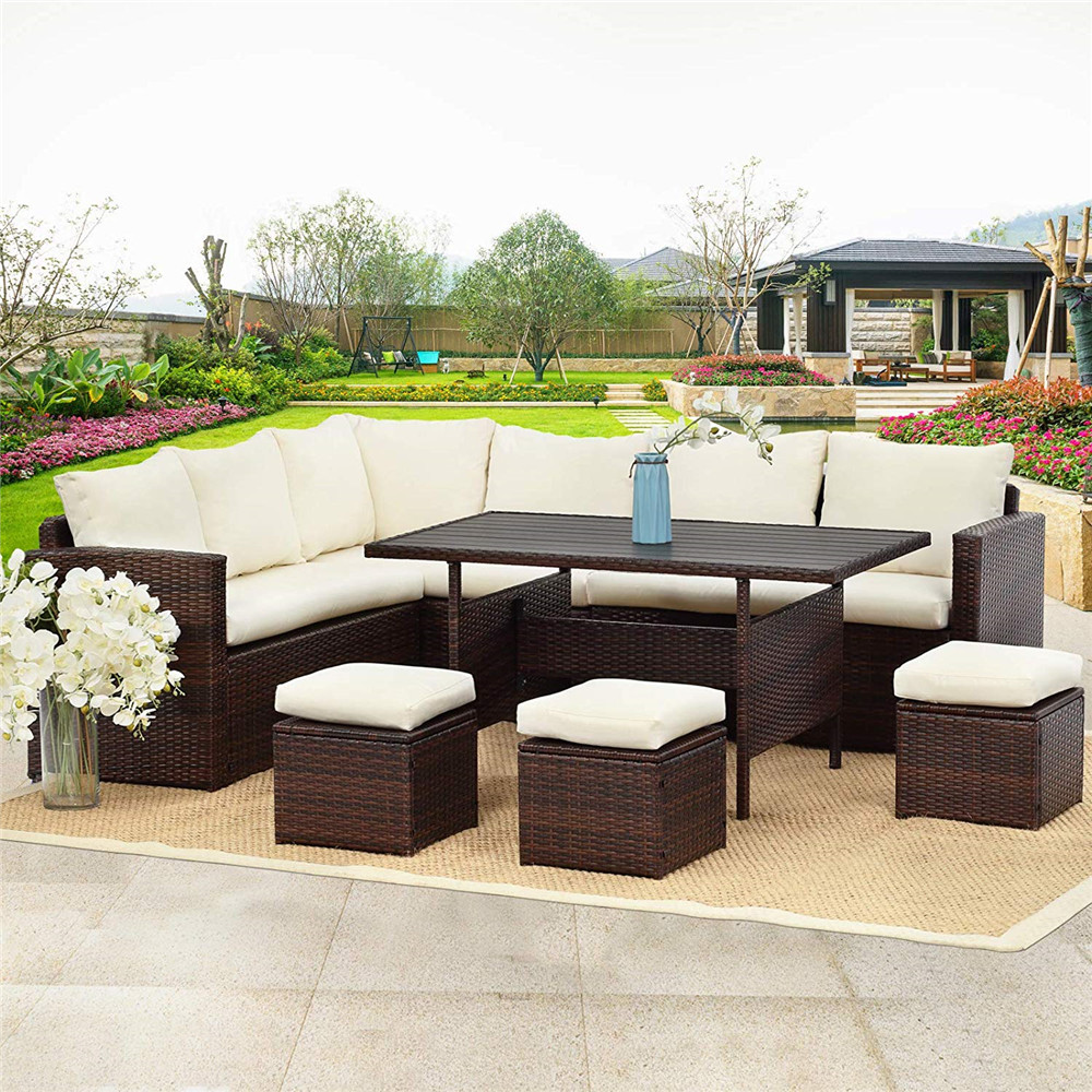 7 pcs outdoor conversation set all weather wicker sectional sofa couch dining table chair with ottoman ivory