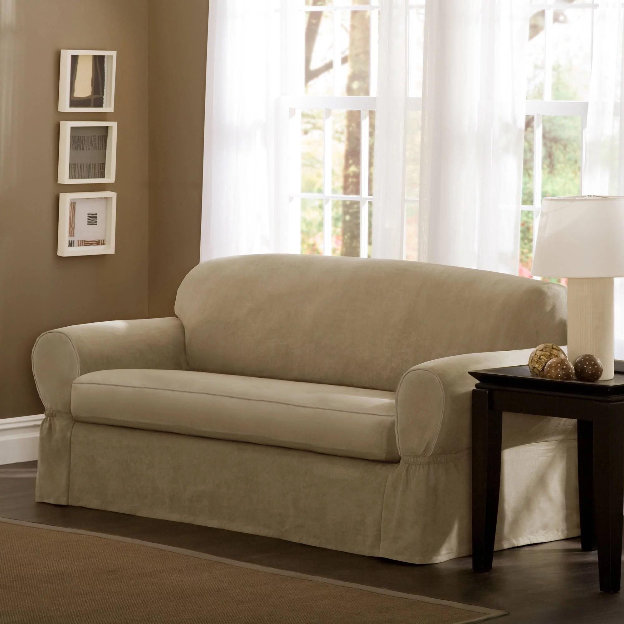 maytex faux suede 2 piece sofa slipcover sand walmart com