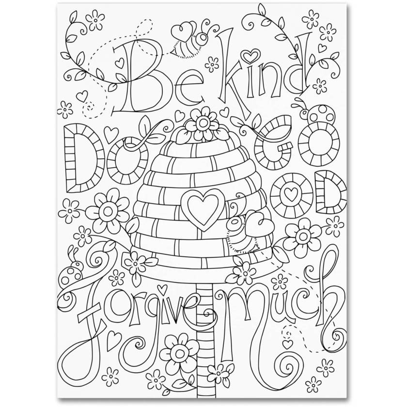 """trademark fine art """"be kind coloring page"""" canvas art"""