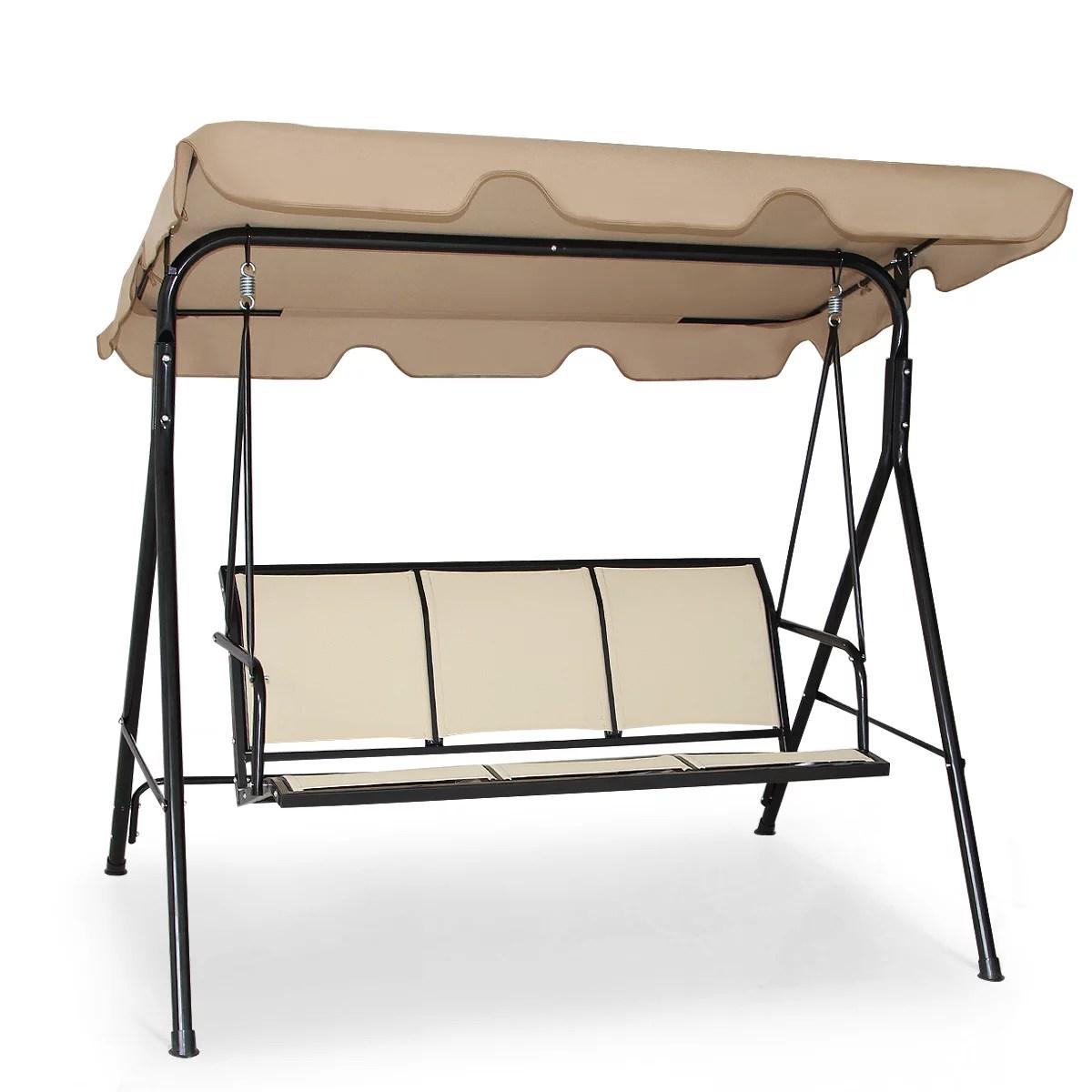 costway outdoor patio swing canopy 3 person canopy swing chair patio hammock brown walmart com