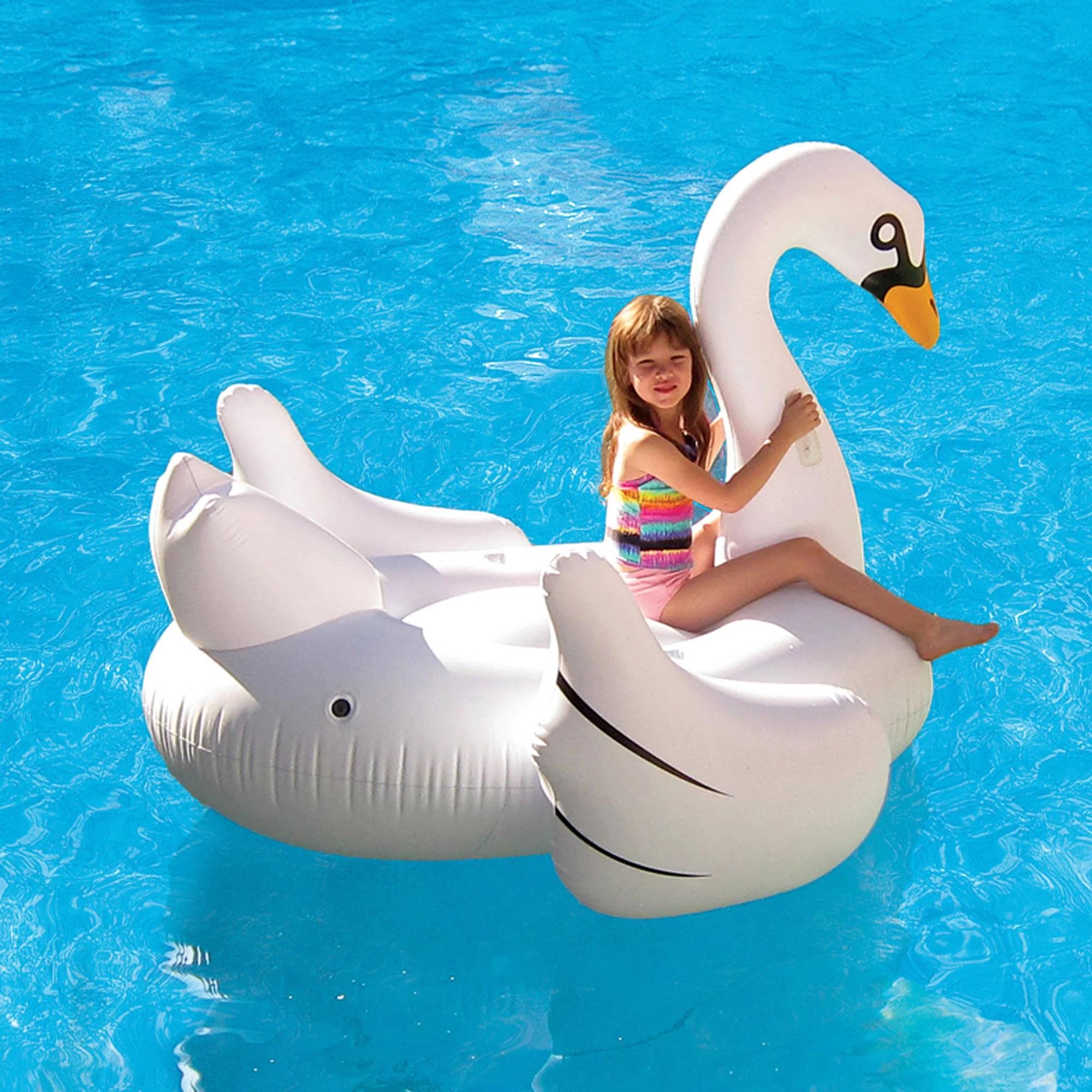 Elegant Giant Swan 72 Inflatable Ride On Pool Float
