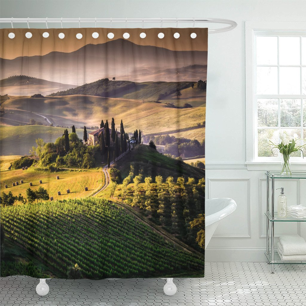 pknmt green olive tuscany italy landscape tree italian scenery tuscan polyester shower curtain 60x72 inches