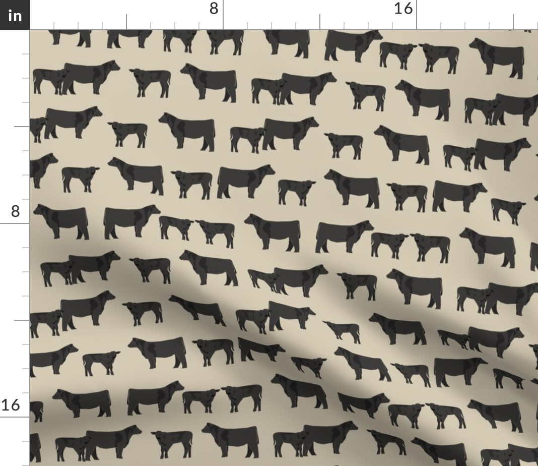 angus cow farm animal livestock cattle calf fabric printed by spoonflower bty