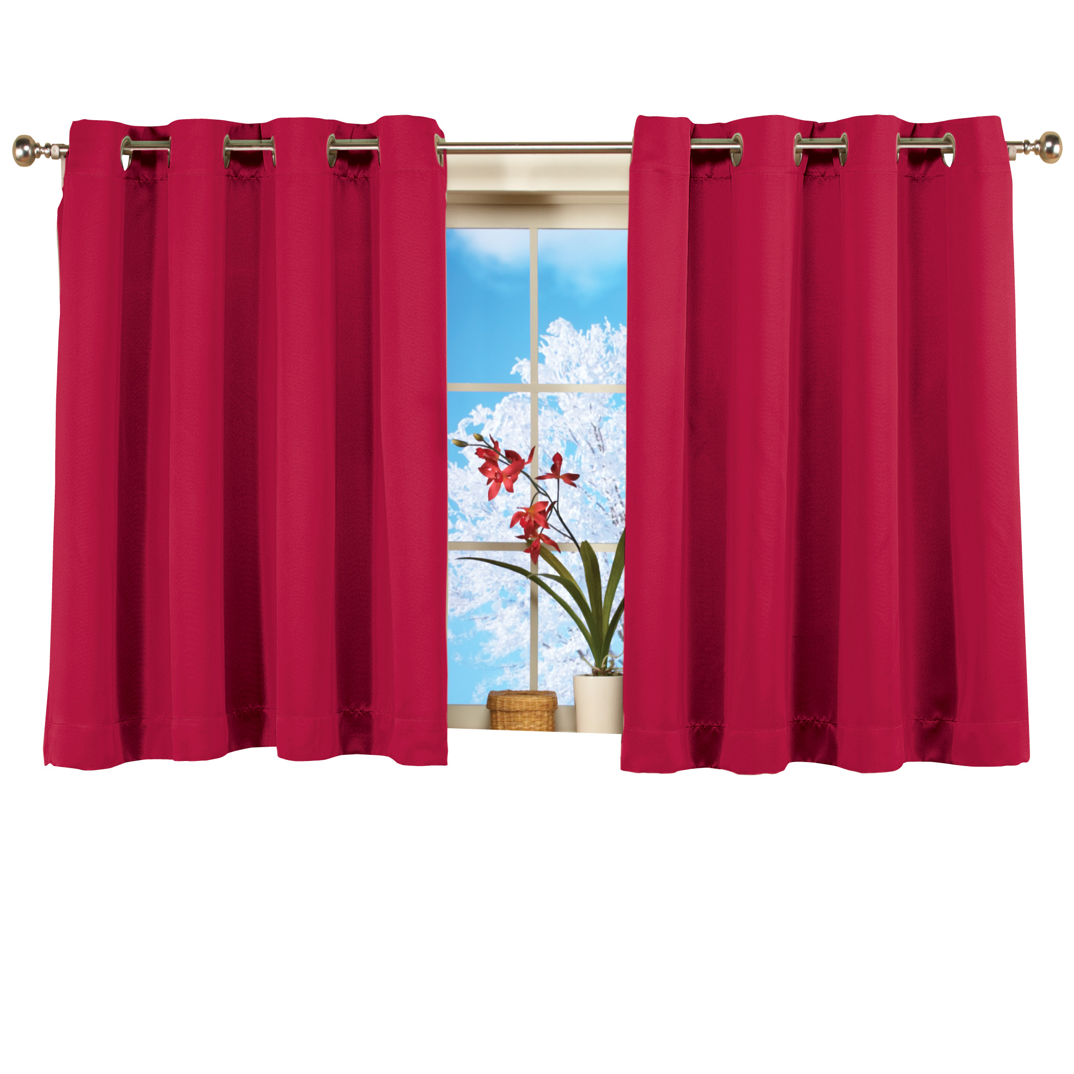short blackout window curtain panel energy efficient noise reducing and light blocking triple layer technology grommet top