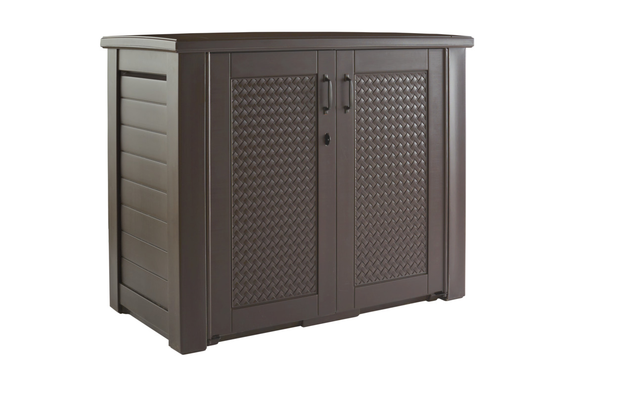 rubbermaid patio chic outdoor resin storage cabinet 123 gallons dark teak