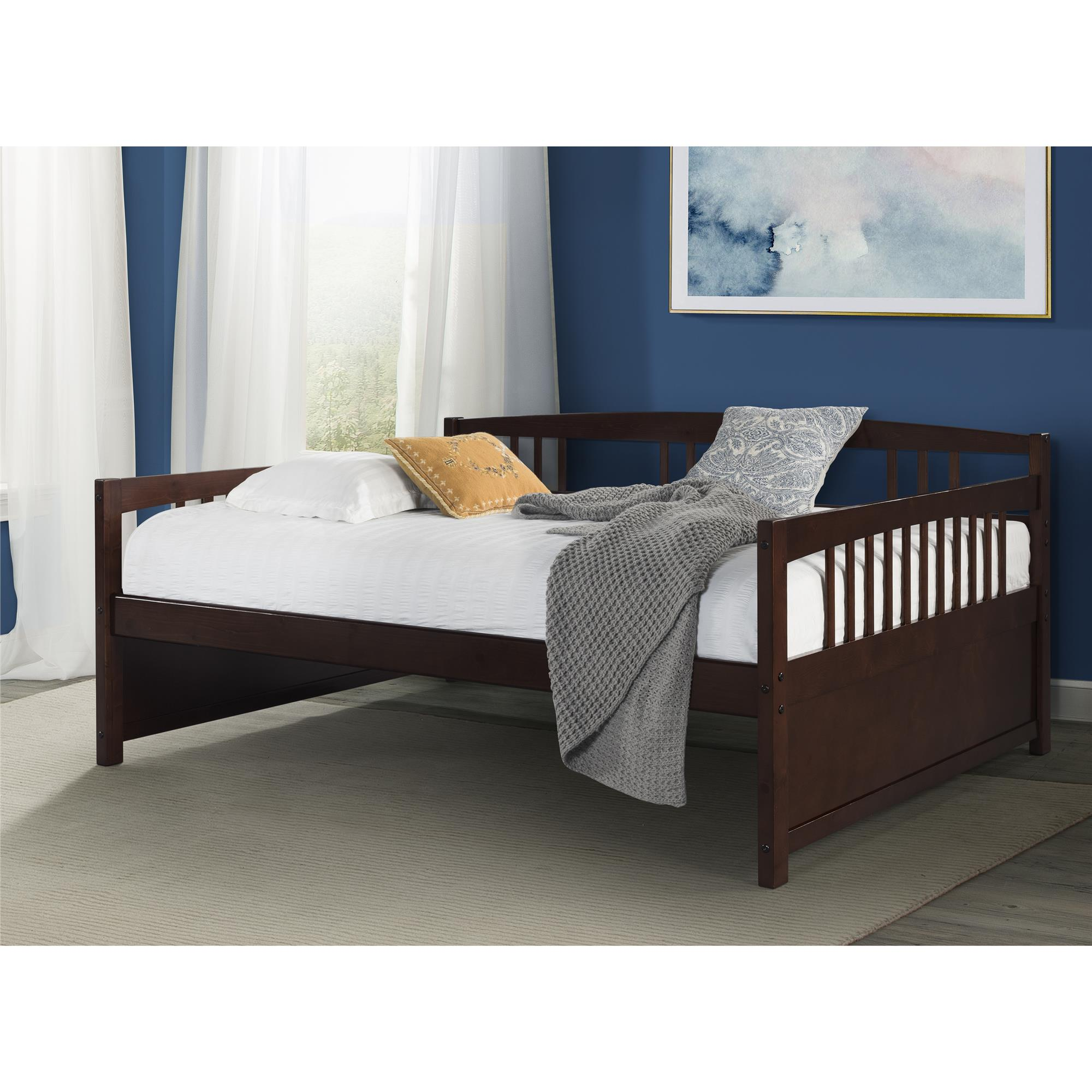 dorel living morgan wood daybed full size frame with slats espresso