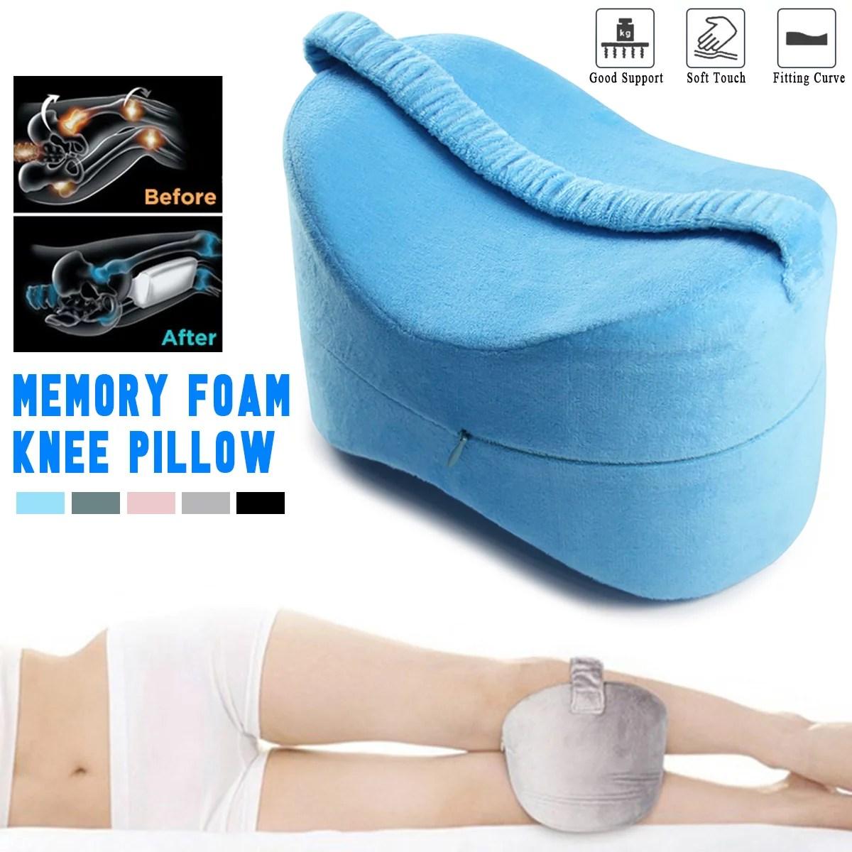 memory foam knee pillow leg pillow cushions side sleeper body pillows travel under knee sleeping gear sciatica pain relief back support