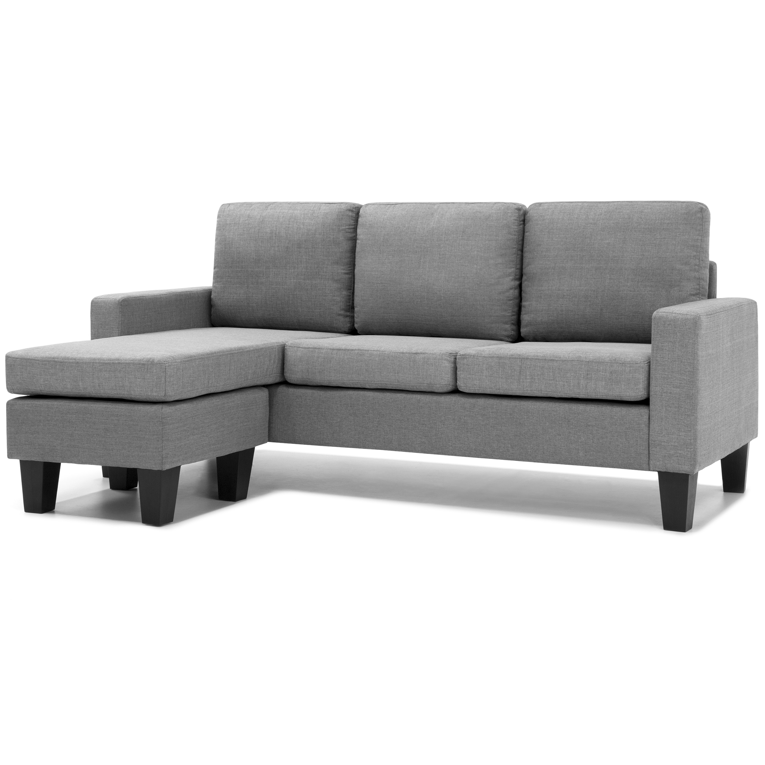 Best Choice Products Multifunctional Linen 3 Seat L Shape Sectional Sofa Couch W Reversible Chaise Ottoman Gray Walmart Com Walmart Com
