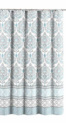 teal aqua blue gray white fabric shower curtain for bathroom floral damask with geometric border design