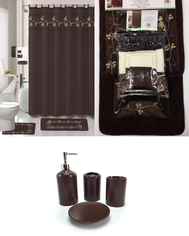 22 piece bath accessory set beverly chocolate brown bathroom rug set shower curtain accessories