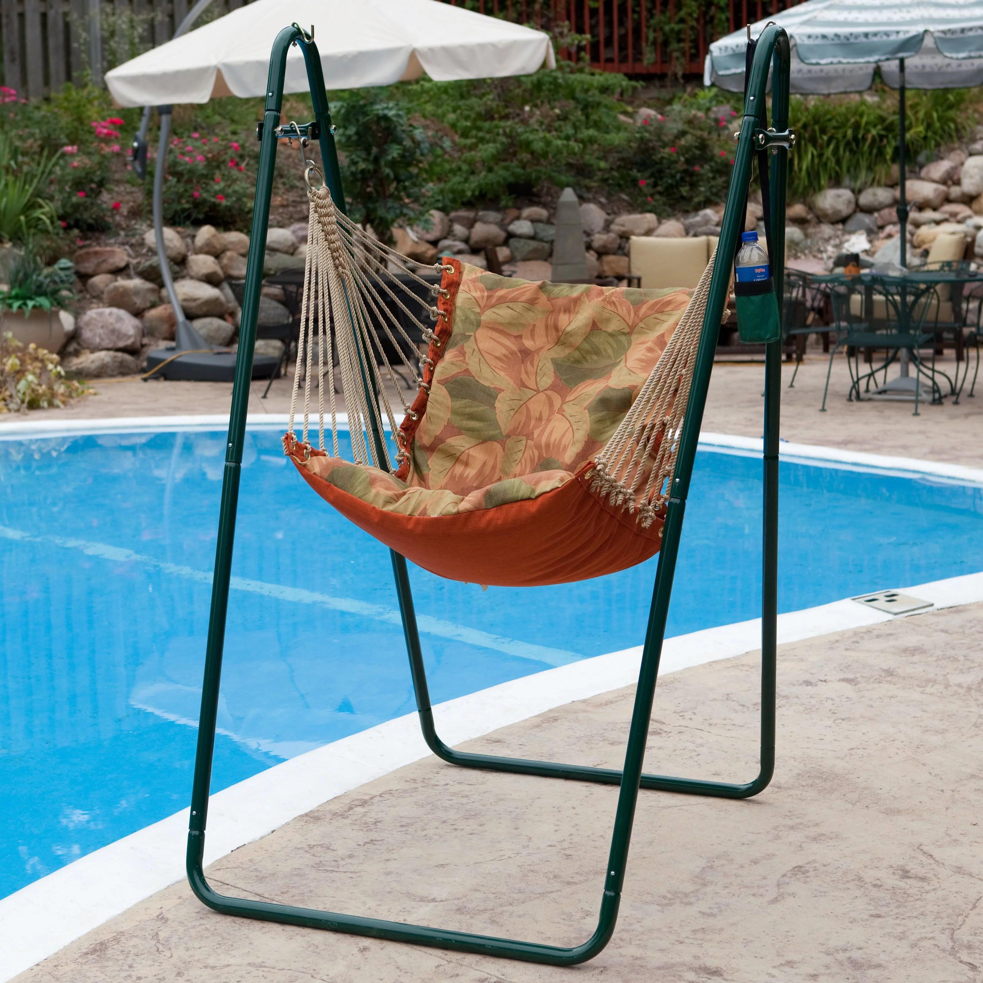 Soft Comfort Hammock Chair And Stand Palm Stripe Green Walmart Com